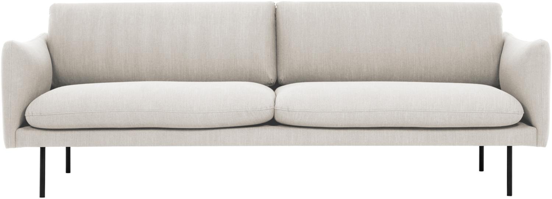 Sofa Moby (3-Sitzer), Bezug: Polyester Der hochwertige, Gestell: Massives Kiefernholz, Füße: Metall, pulverbeschichtet, Webstoff Beige, B 220 x T 95 cm