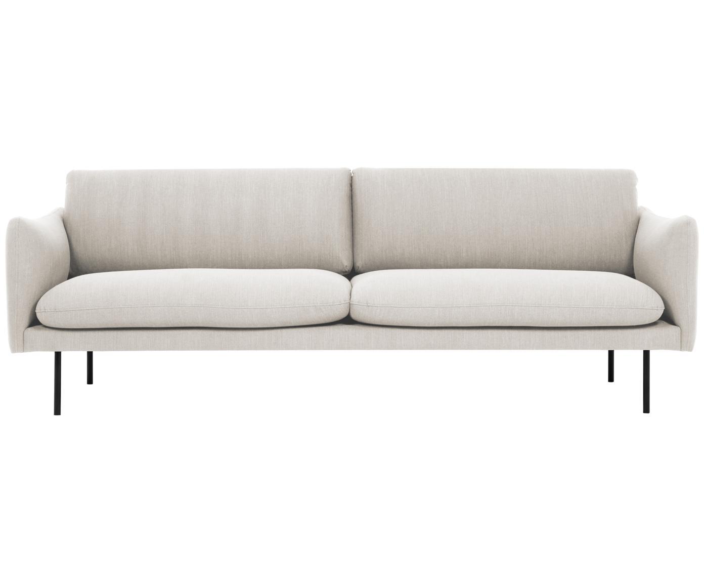 Bank Moby (3-zits), Bekleding: polyester, Frame: massief grenenhout, Poten: gepoedercoat metaal, Beige, B 220 x D 95 cm
