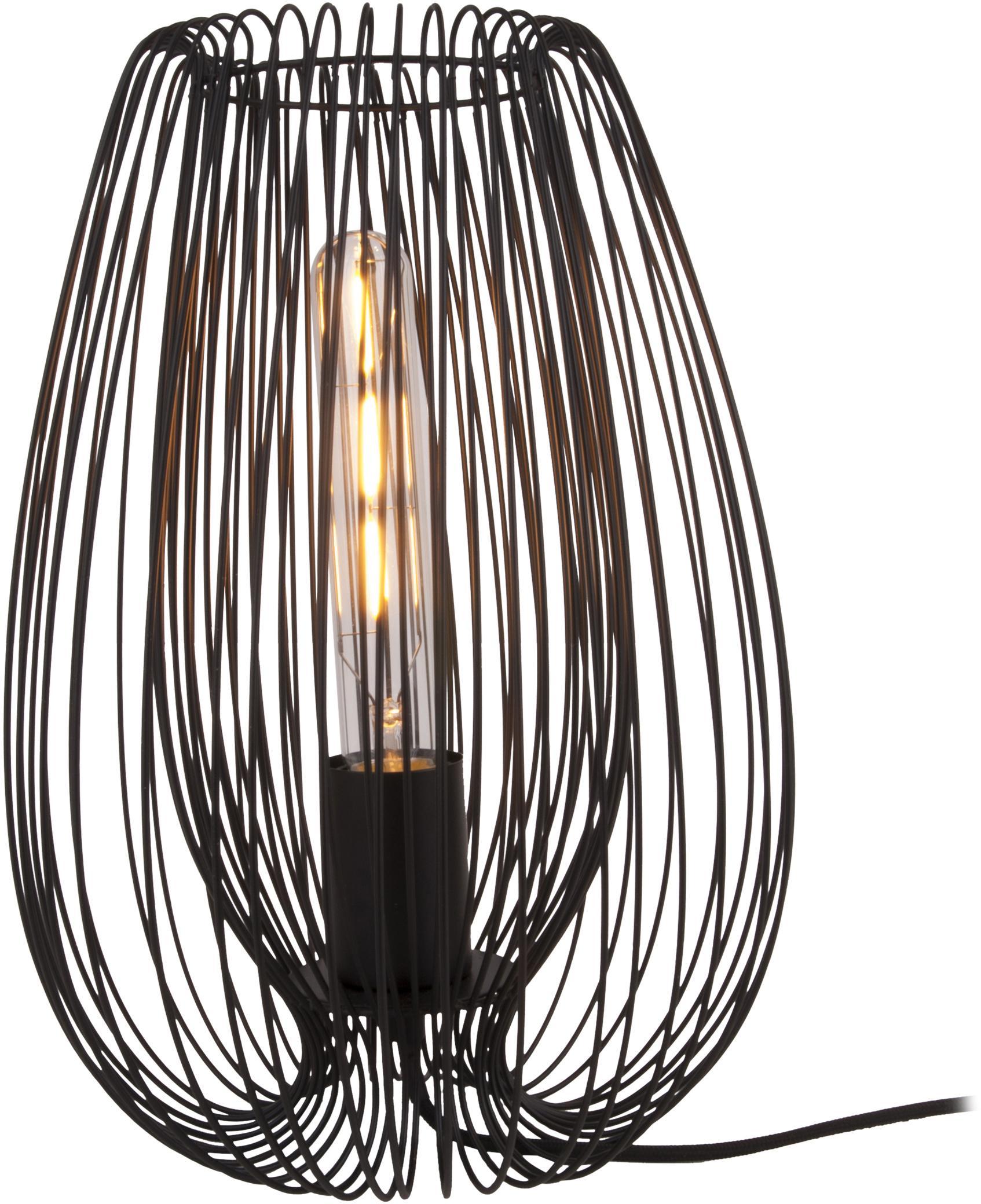 Retro tafellamp Lucid, Lamp: gelakt metaal, Zwart, Ø 22 x H 33 cm