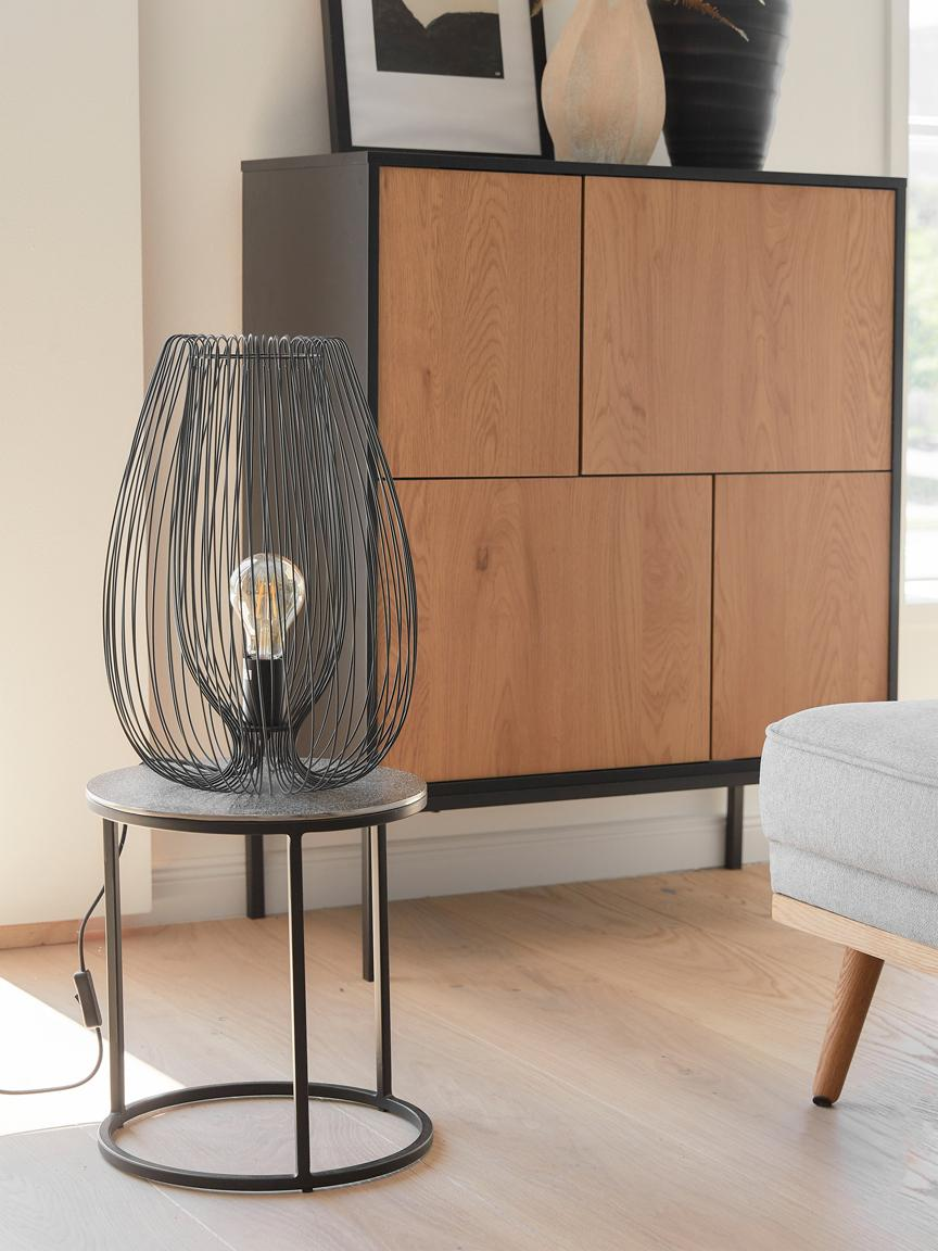 Lámpara de mesa de metal Lucid, Lámpara: metal pintado, Cable: plástico, Negro, Ø 22 x Al 33 cm