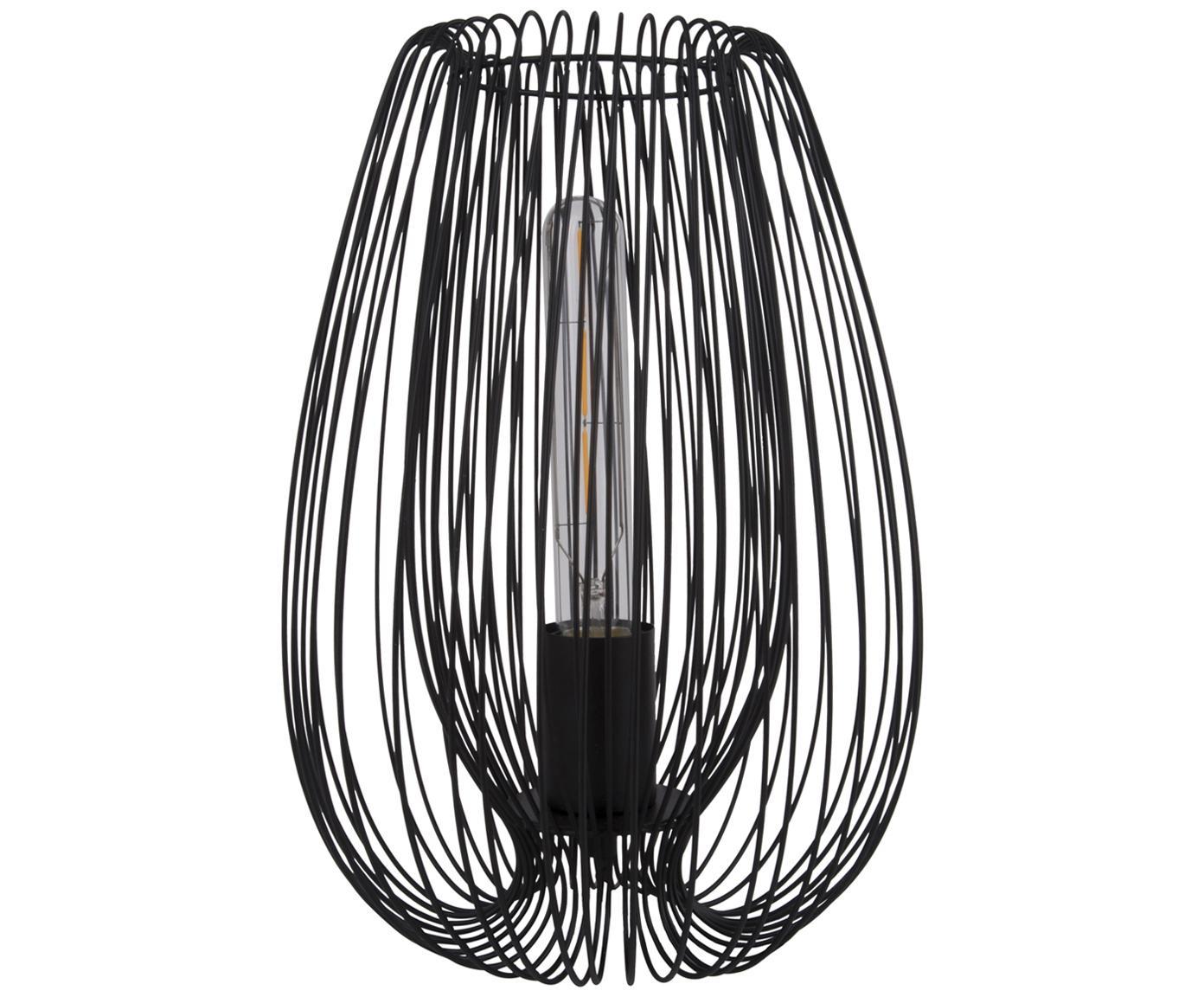 Lámpara de mesa Lucid, estilo retro, Lámpara: metal pintado, Cable: plástico, Negro, Ø 22 x Al 33 cm