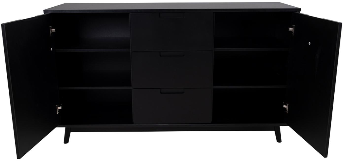 Credenza nera Copenhagen, Piedini: legno di pino, Nero, Larg. 150 x Alt. 86 cm