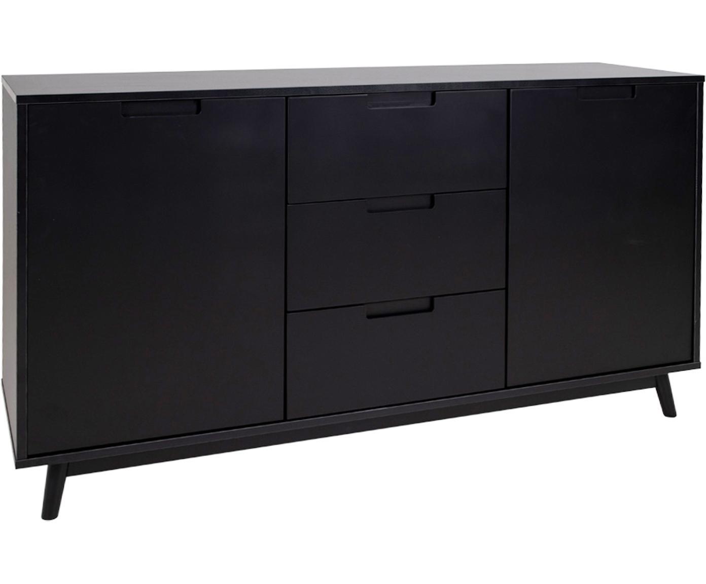 Sideboard Copenhagen, Korpus: Mitteldichte Holzfaserpla, Füße: Kiefernholz, Schwarz, B 150 x H 86 cm
