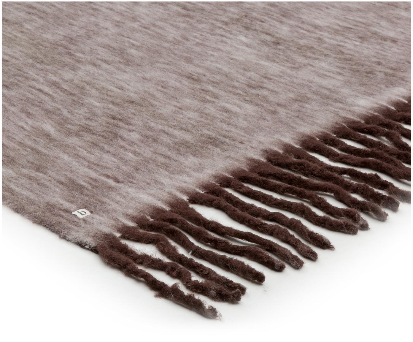 Plaid reversibile Leon, 55% acrilico, 25% lana, 20% nylon, Bianco, rosso rubino, Larg. 130 x Lung. 180 cm
