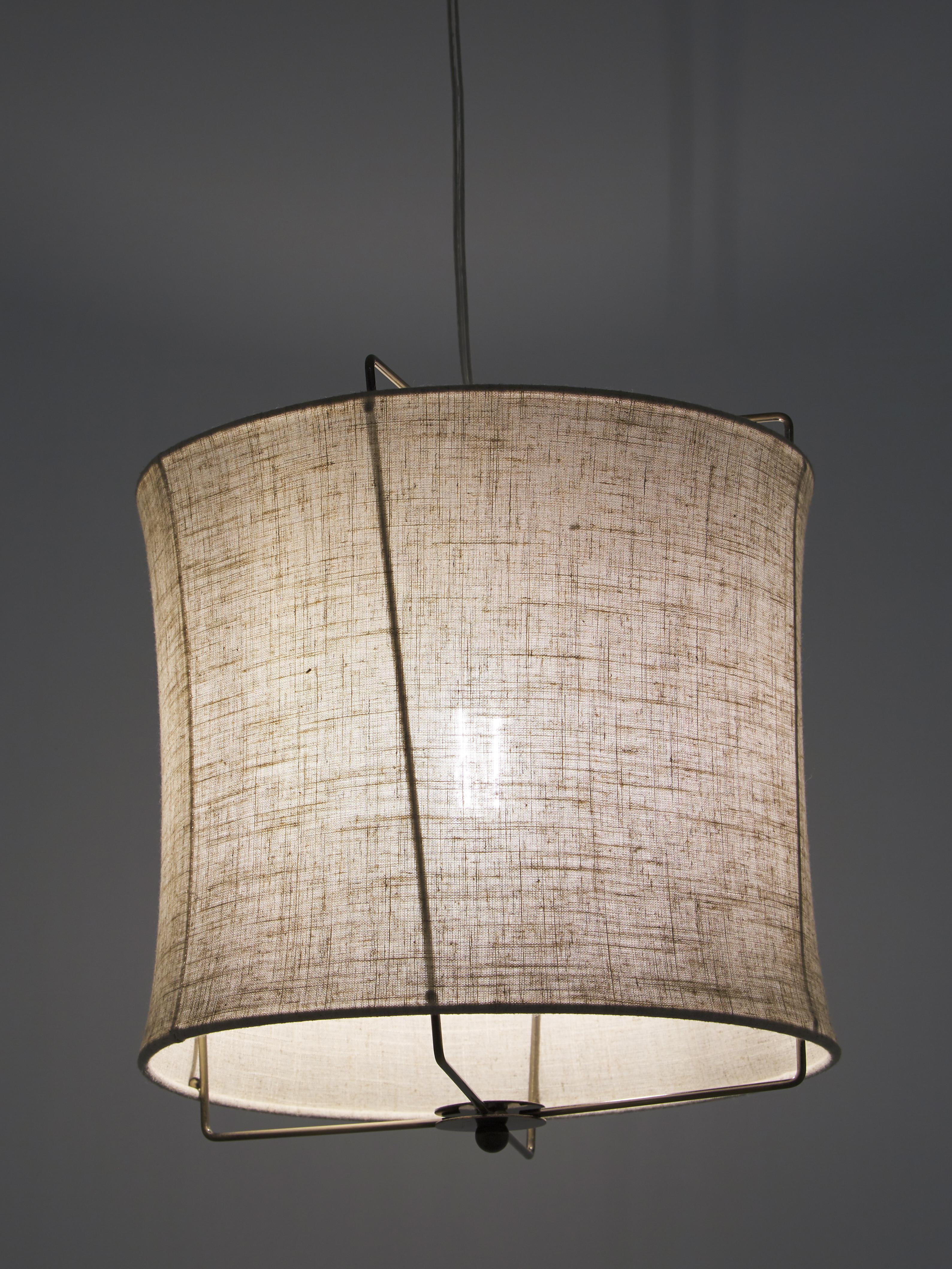 Lampada a sospensione in lino Clouds, Paralume: lino, Taupe, Ø 30 x Alt. 30 cm