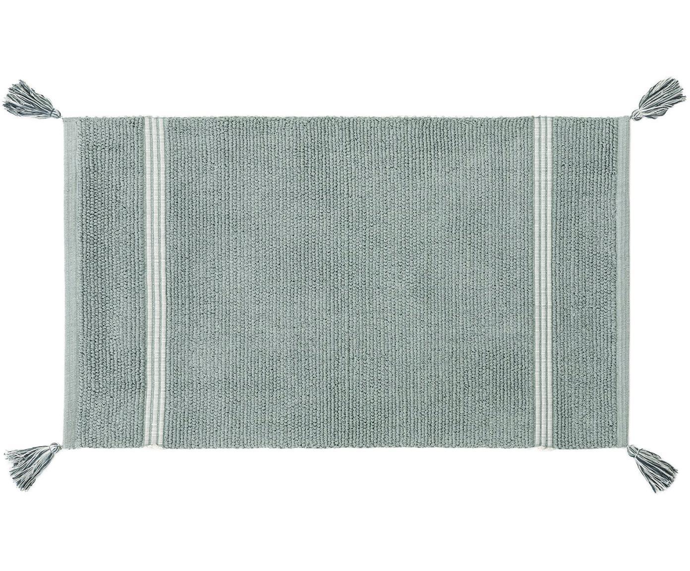 Tappeto bagno con nappe Dust, 100% cotone, Menta, Larg. 50 x Lung. 85 cm