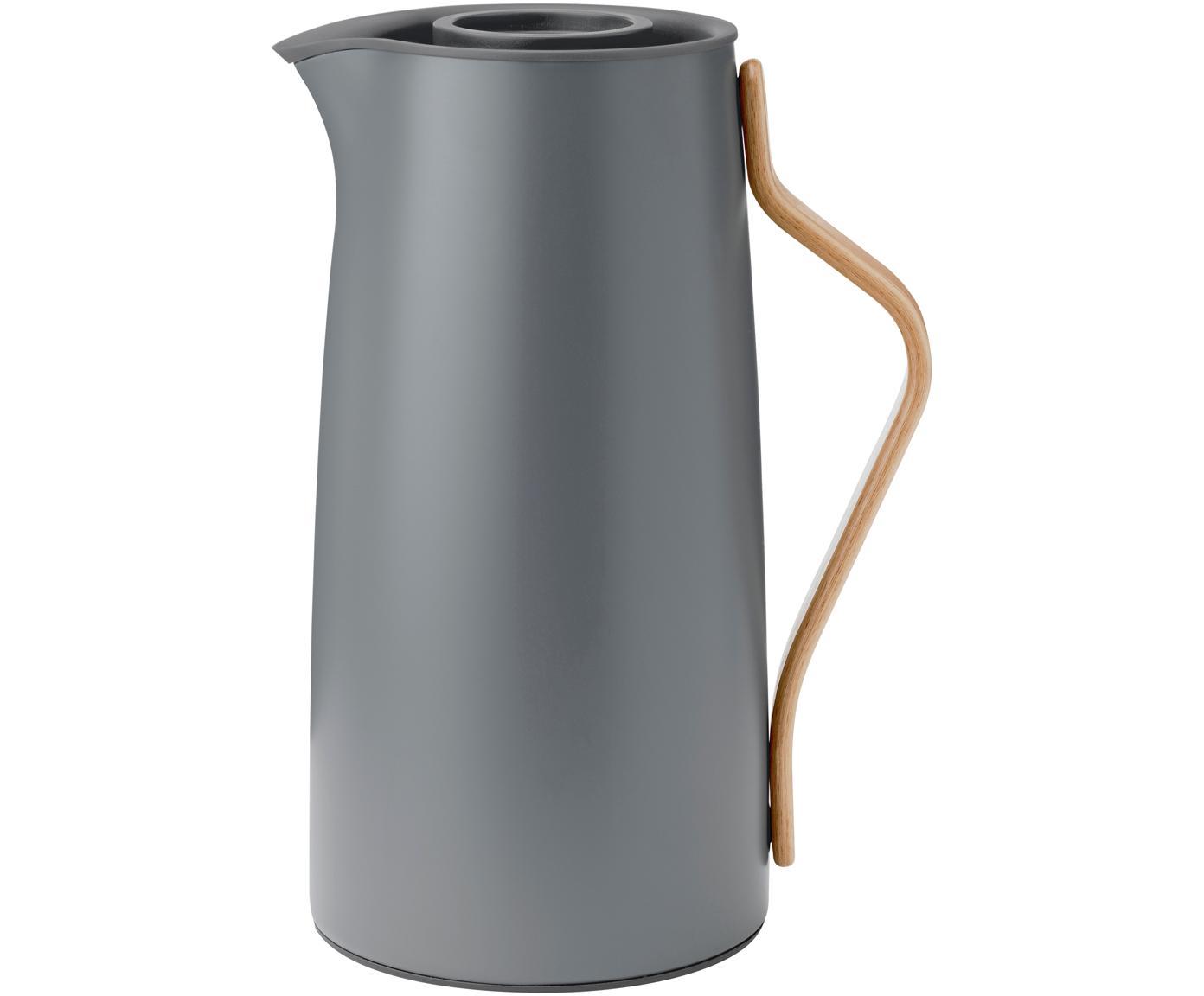 Thermos grigio opaco Emma, Rivestimento: smalto, opaco, Manico: legno di faggio, Grigio opaco, 1.2 L