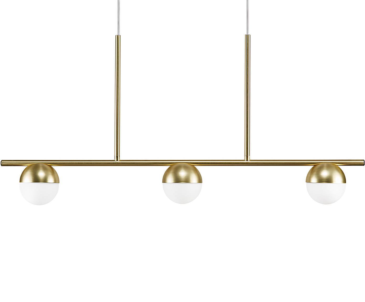 Lámpara de techo grande Contina, Pantalla: vidrio, Estructura: metal recubierto, Anclaje: metal recubierto, Cable: cubierto en tela, Blanco, latón, L 90 x Al 242 cm