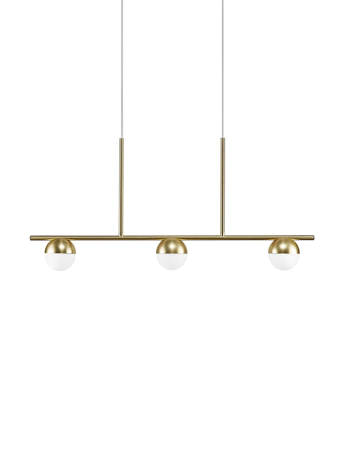 Duża lampa wisząca Contina, Biały, odcienie mosiądzu, S 90 cm x W 242 cm