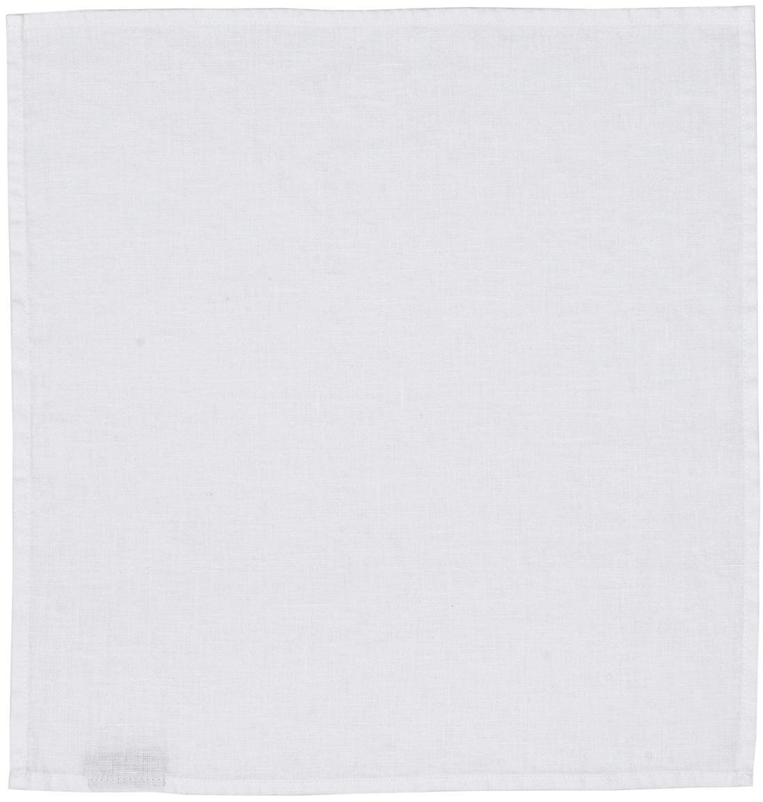 Servilletas de lino Ruta, 6uds., Blanco nieve, An 43 x L 43 cm