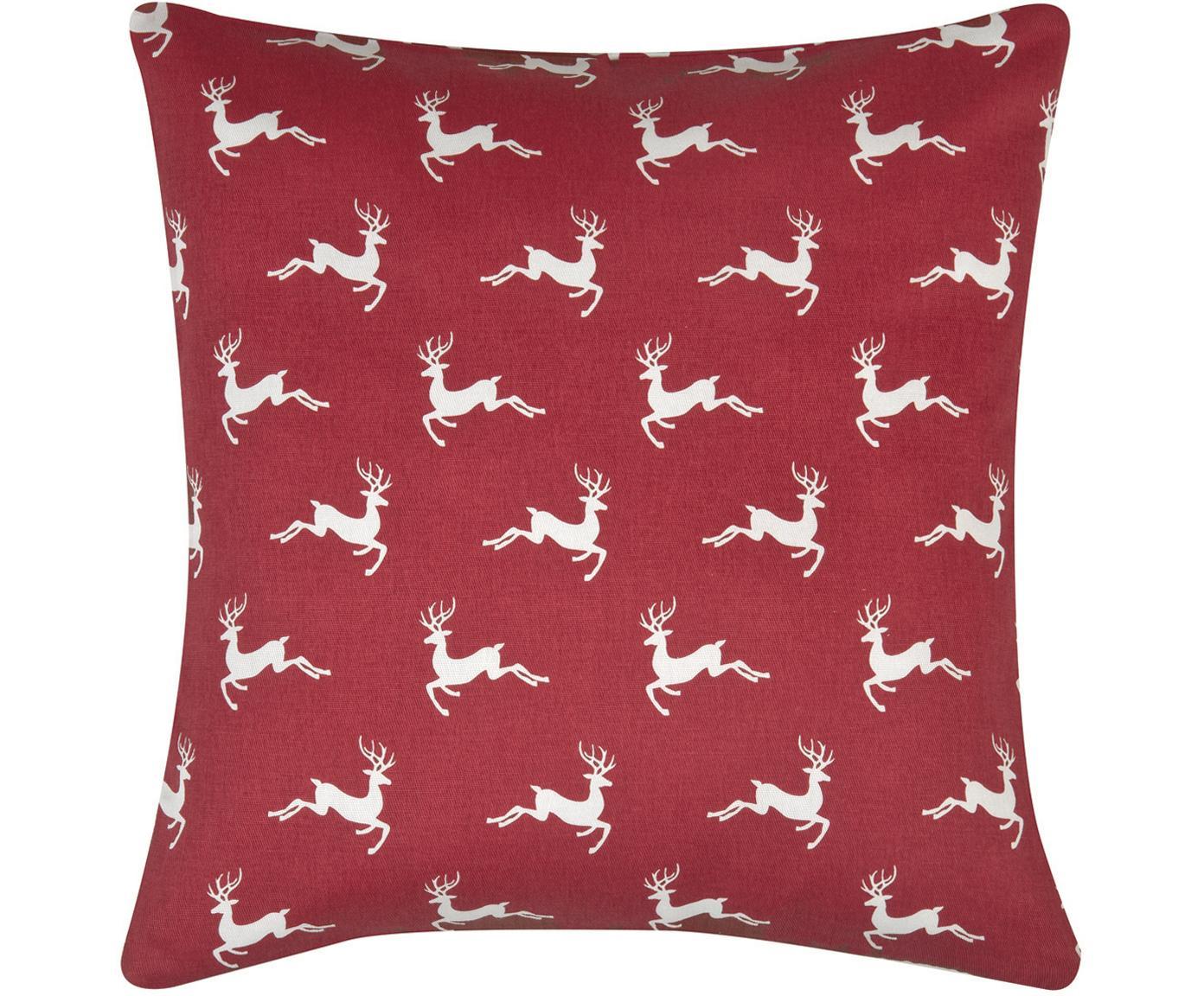 Federa natalizia con cervi Deers, 100% cotone, tessuto panama, Rosso scuro, ecru, Larg. 40 x Lung. 40 cm