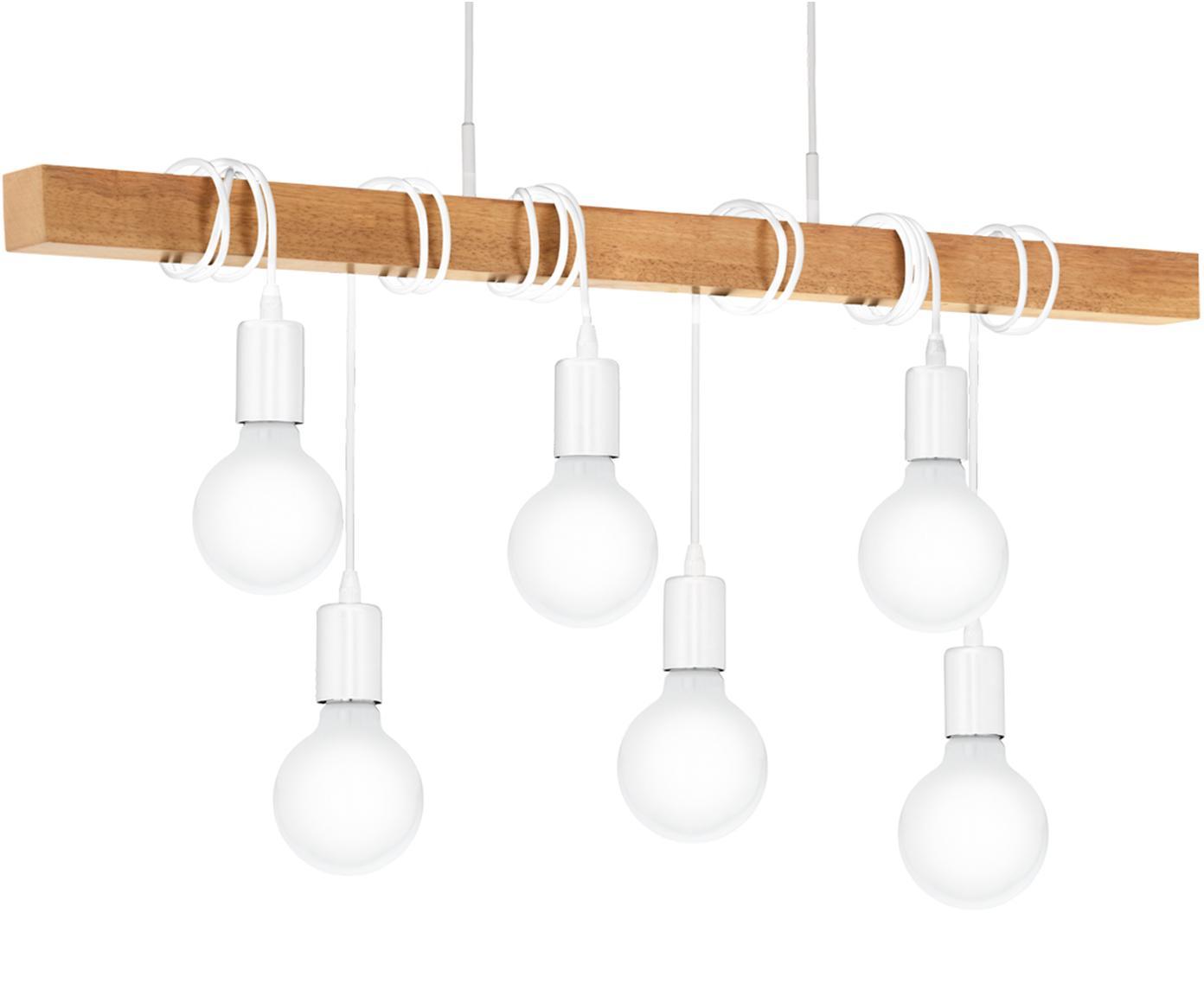 Duża lampa wisząca Townshend, Biały, drewno naturalne, S 100 x W 110 cm