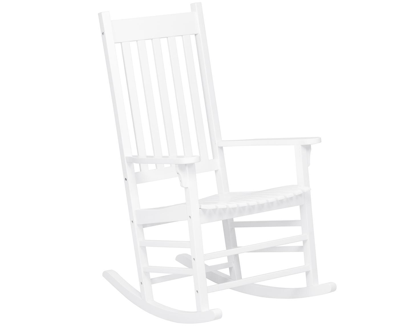 Sedia a dondolo da giardino Bay, Legno di acacia, verniciato, Bianco, Larg. 84 x Prof. 68 cm