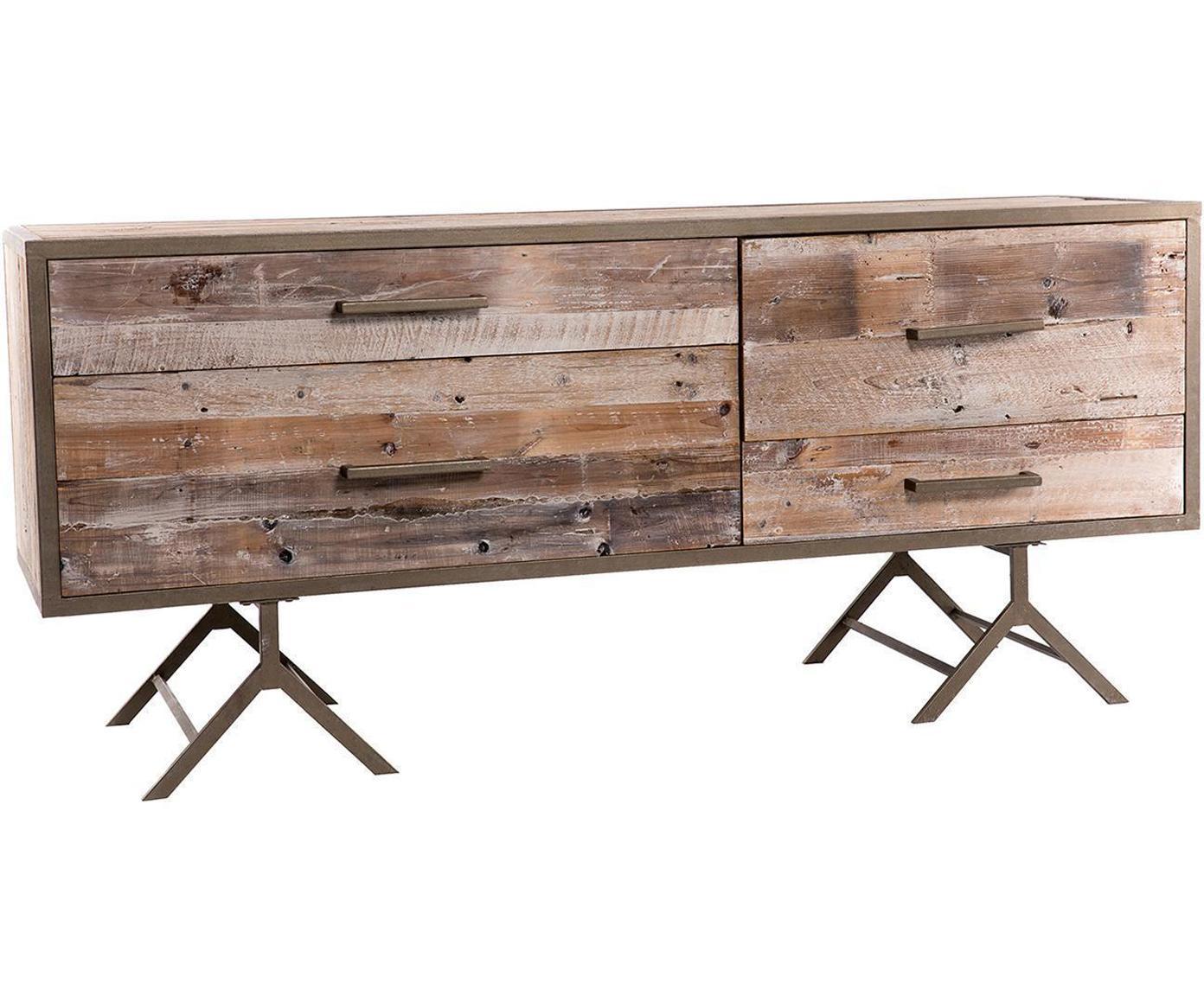 Aparador Luna, Cuerpo: madera de abeto, Latón, natural envejecido, An 170 x Al 75 cm