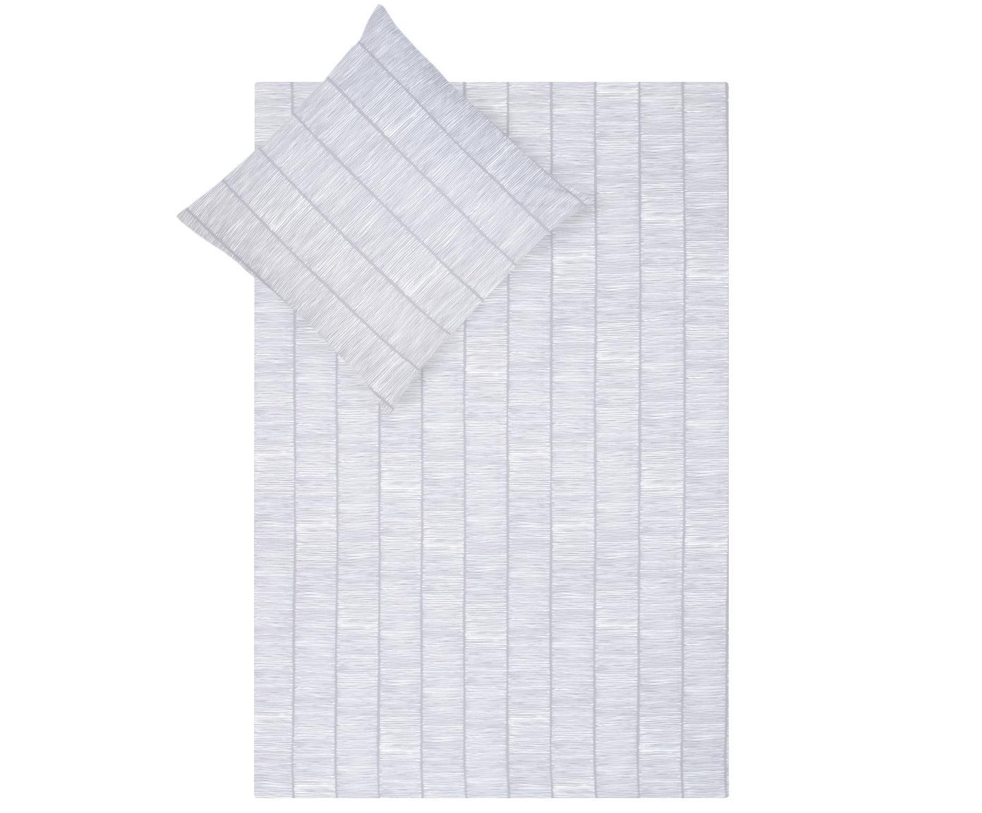 Gemusterte Baumwoll-Bettwäsche Paulina, Webart: Renforcé Fadendichte 144 , Grau, Weiß, 240 x 220 cm + 2 Kissen 80 x 80 cm
