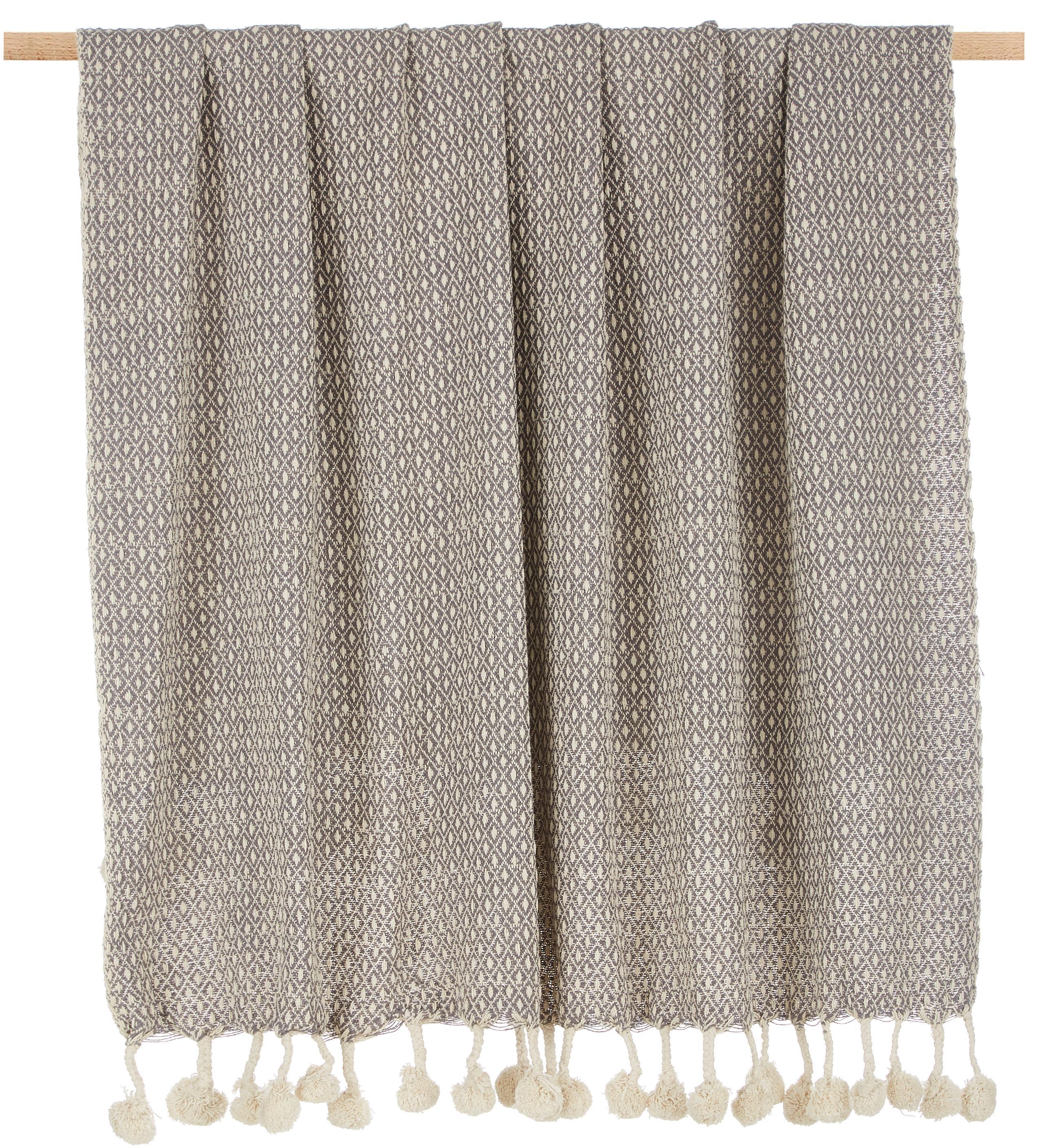 Manta con pompones Lilano, 100%algodón, Beige, gris, An 130 x L 150 cm