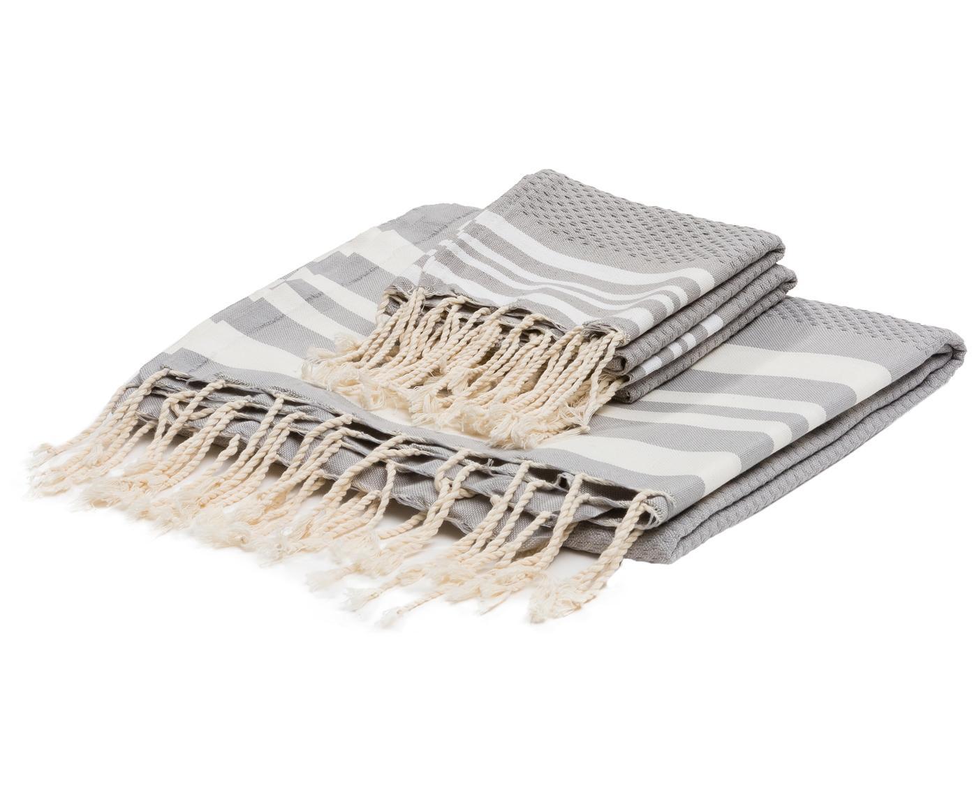 Lichte handdoekenset Hamptons, 3-delig, Katoen, zeer lichte kwaliteit, 200 g/m², Parelgrijs, wit, Verschillende formaten