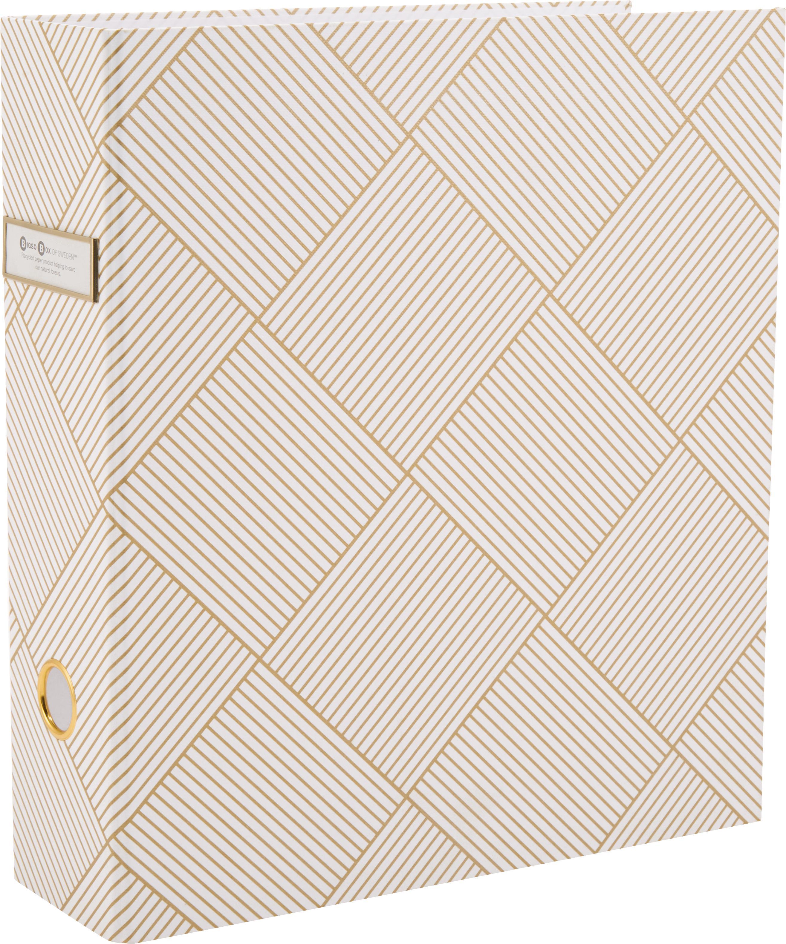 Segregator na dokumenty Archie, Odcienie złotego, biały, S 29 x W 32 cm