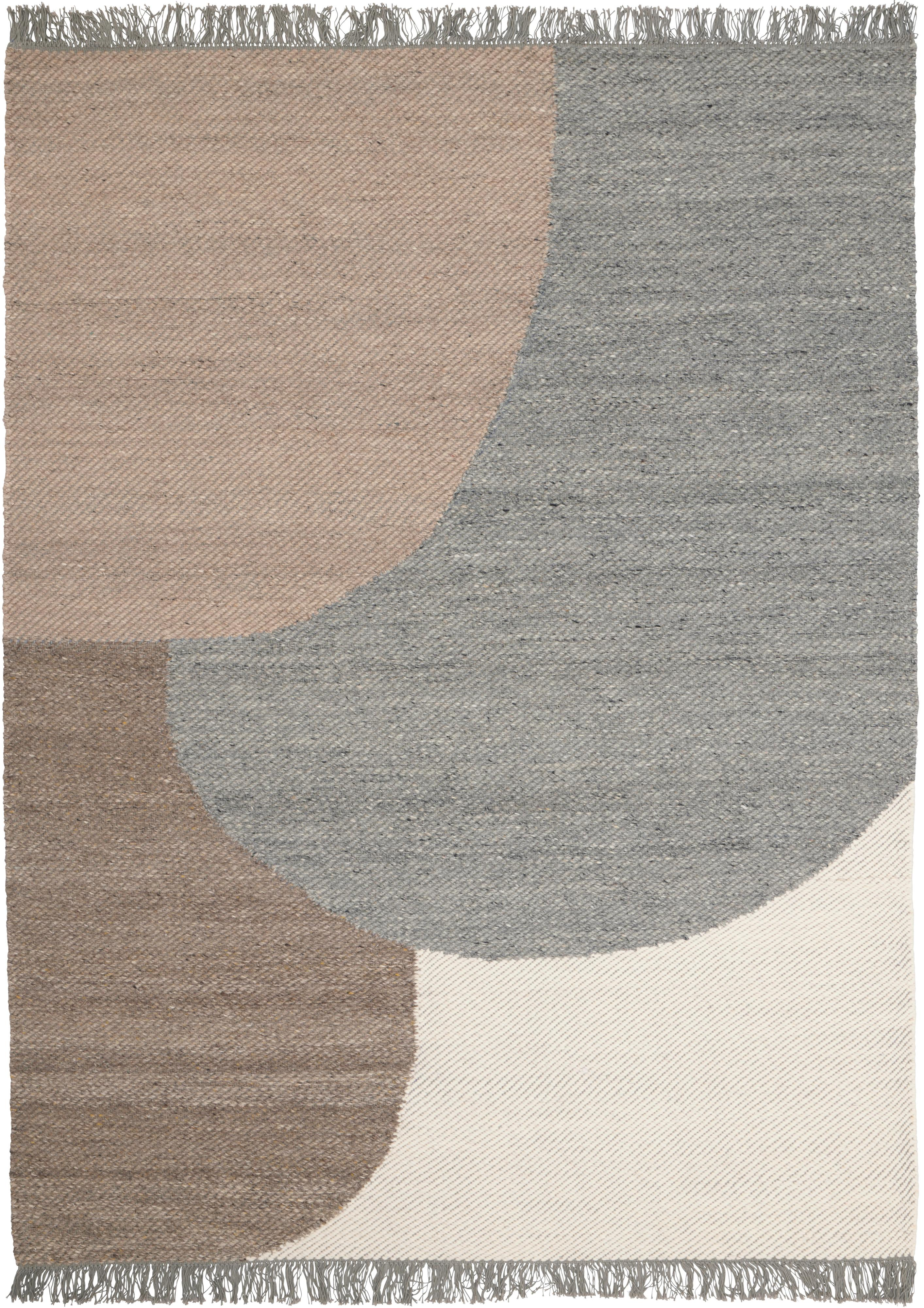 Handgeweven wollen vloerkleed Eik, Franjes: 100% katoen, Grijs- en beigetinten, B 140 x L 200 cm (maat S)