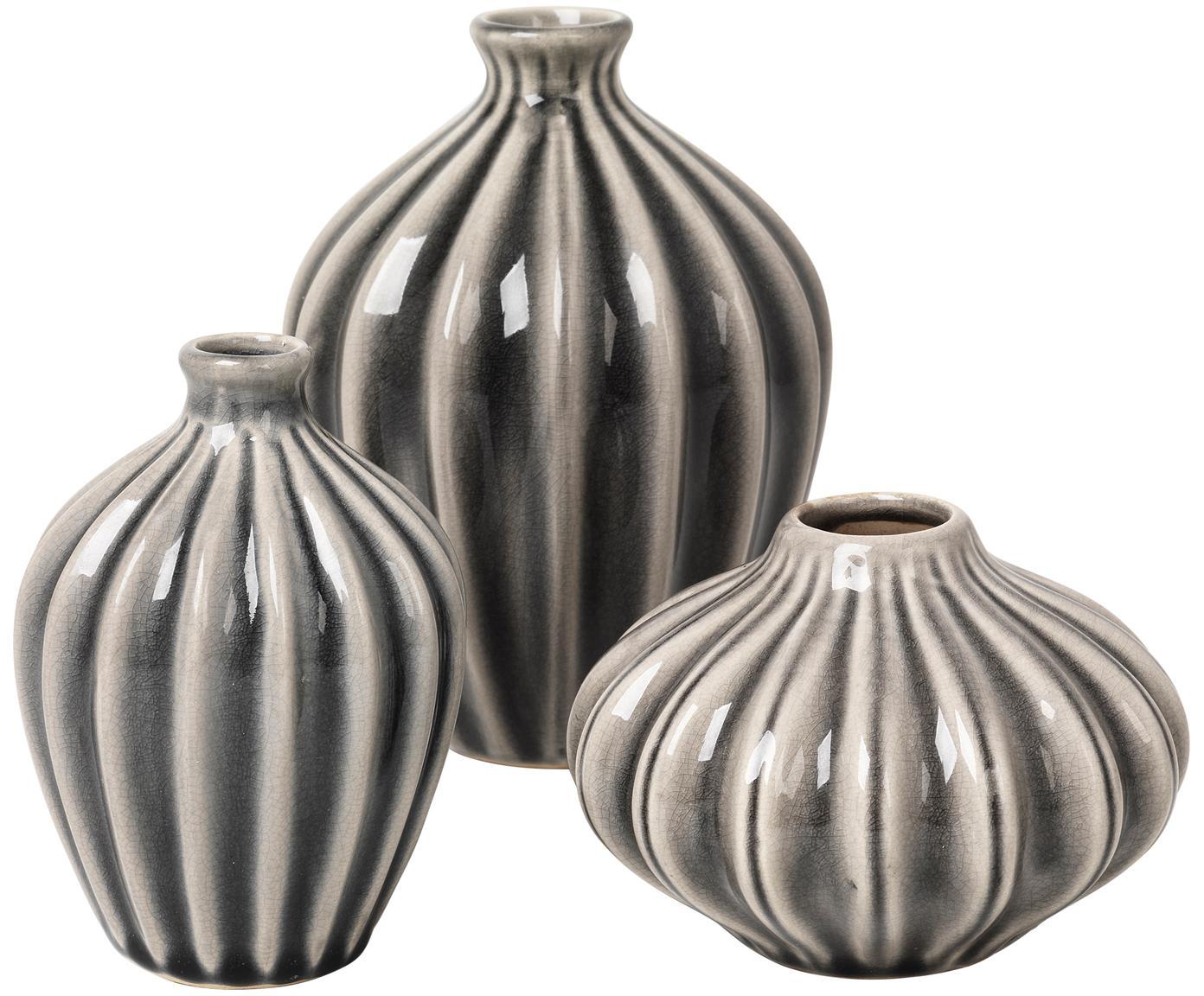 Komplet małych wazonów dekoracyjnych z ceramiki Amalie, 3 elem., Ceramika, niewodoodporna, Szary, Różne rozmiary