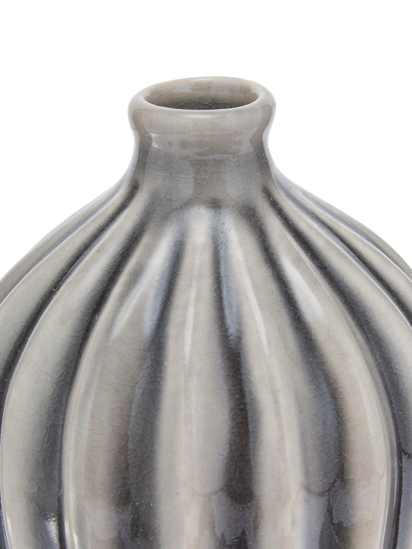 Set 3 vasi decorativi Amalie, Ceramica, non impermeabile, Grigio, Diverse dimensioni
