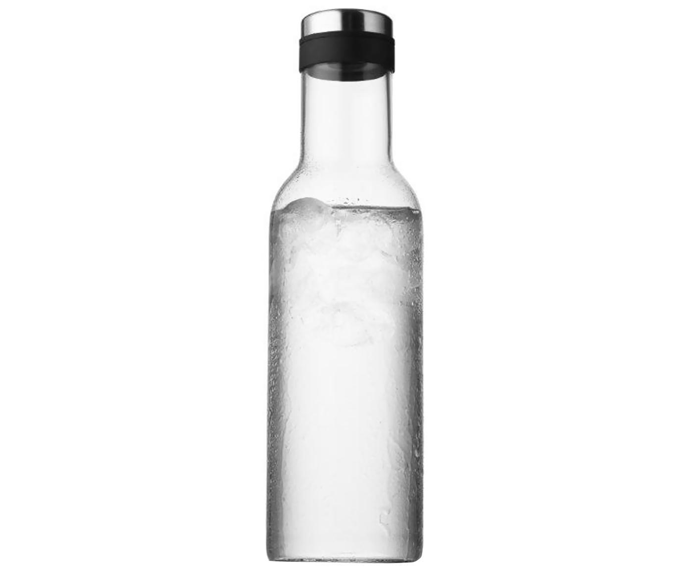 Karaffe Norm mit silbernem Deckel, Glas mundgeblasen, Silikon, Transparent, 1 l