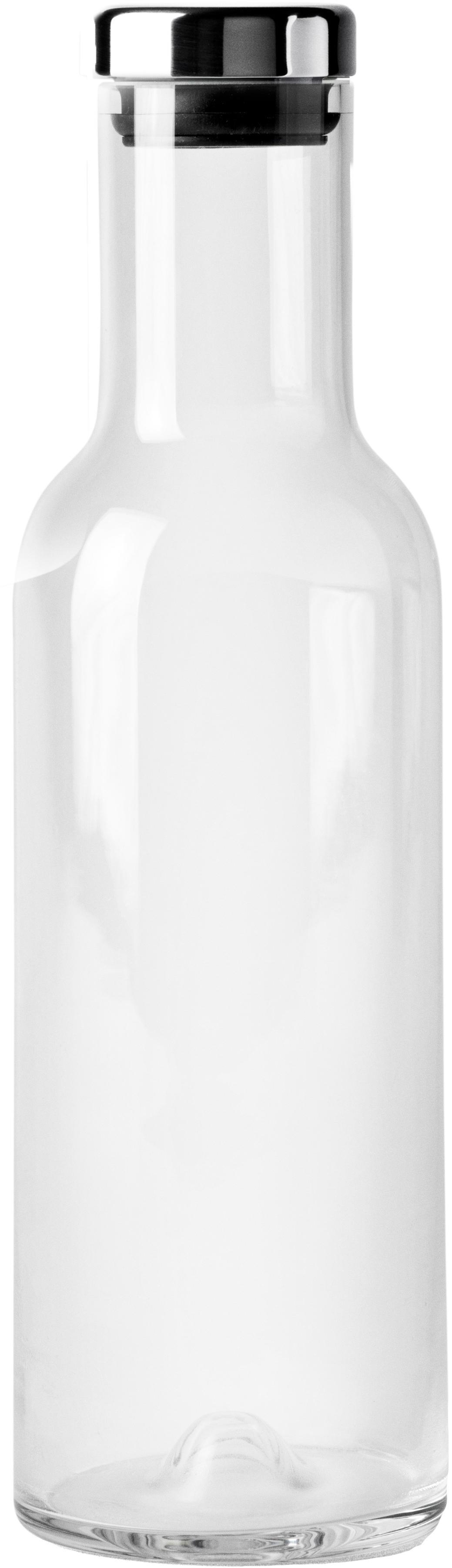Karaffe Deluxe in Transparent mit silbernem Deckel, Glas mundgeblasen, Silikon, Transparent, 1 L