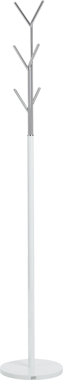 Perchero de pie London, 6ganchos, Estructura: acero tubular con pintura, Blanco, cromo, Ø 31 x Al 177 cm