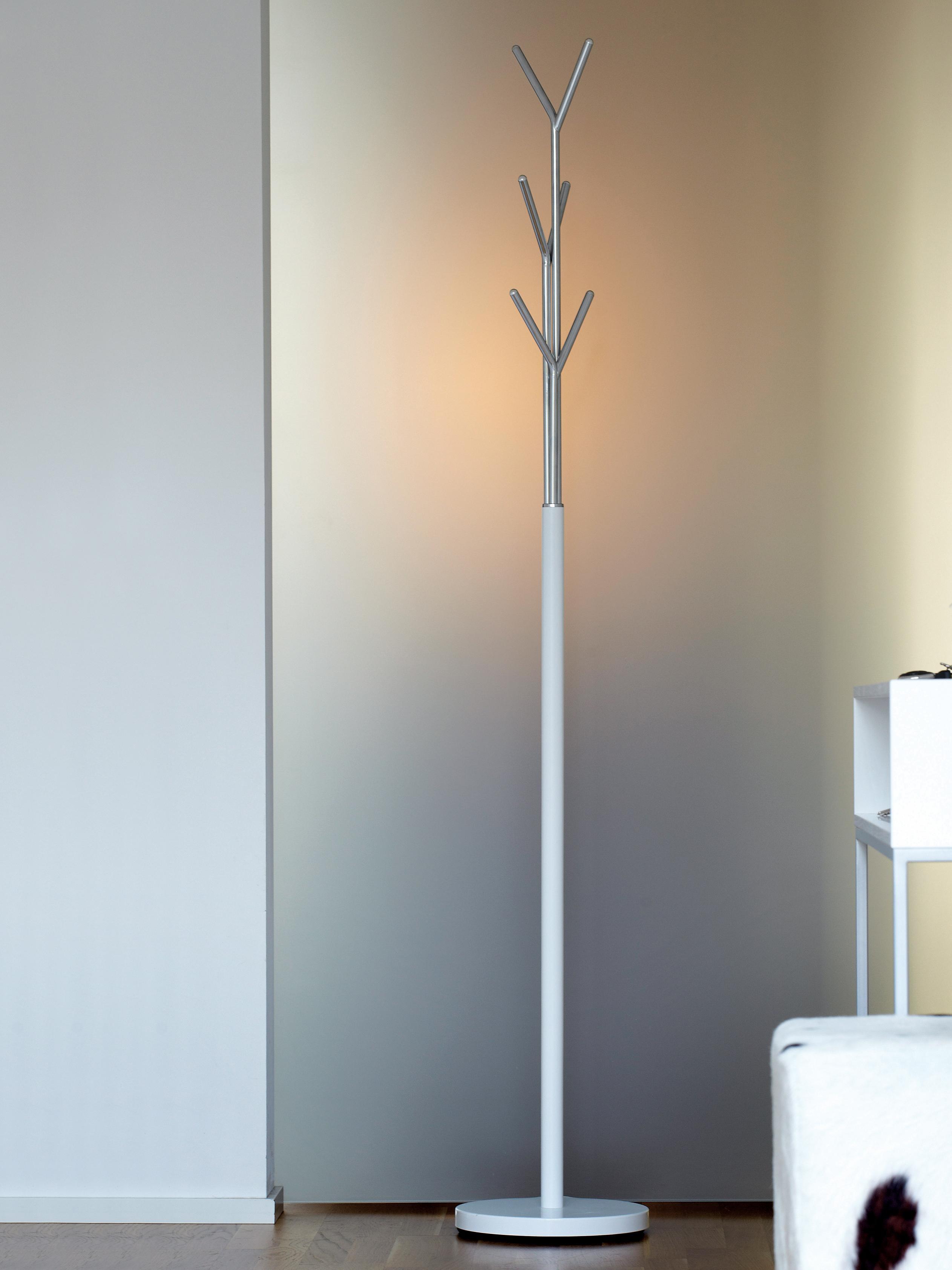 Kleiderständer London mit 6 Haken, Gestell: Stahlrohr, pulverbeschich, Weiß, Chrom, Ø 31 x H 177 cm