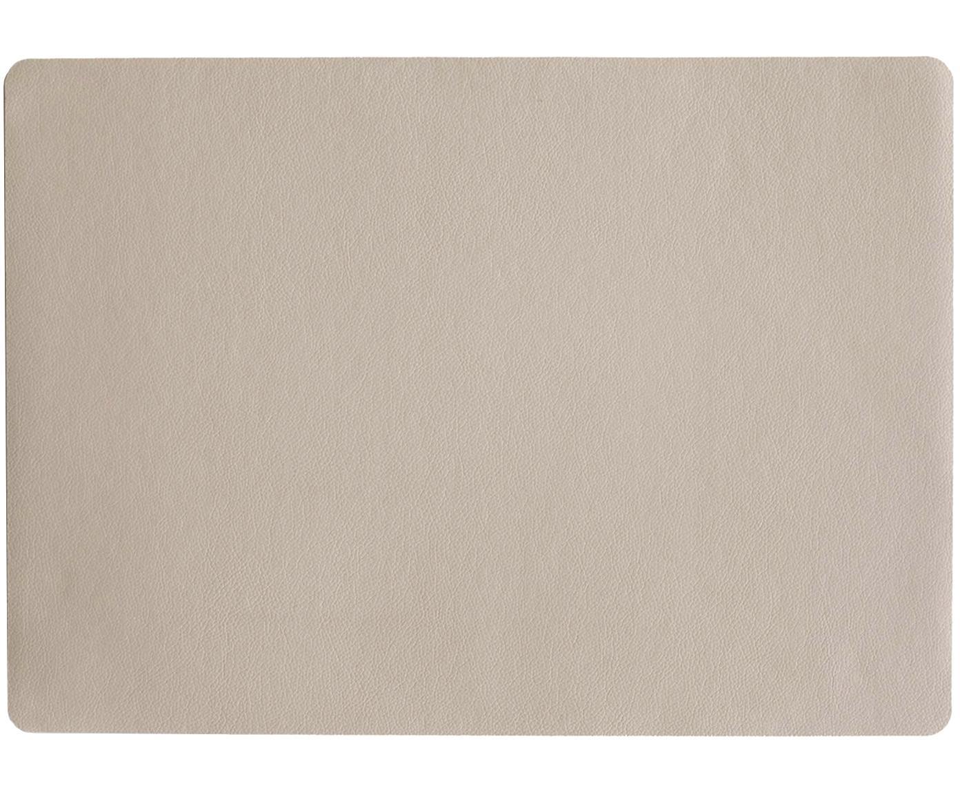 Kunststoffen placemats Pik van kunstleer, 2 stuks, Kunststof (PVC) van kunstleer, Lampenkap: grijs. Lampvoet: grijs. Snoer: wit, 33 x 46 cm