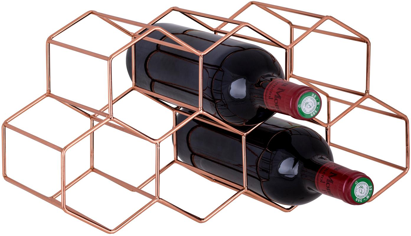 Wijnrek Hexagon, Koper, Koperkleurig, 37 x 16 cm