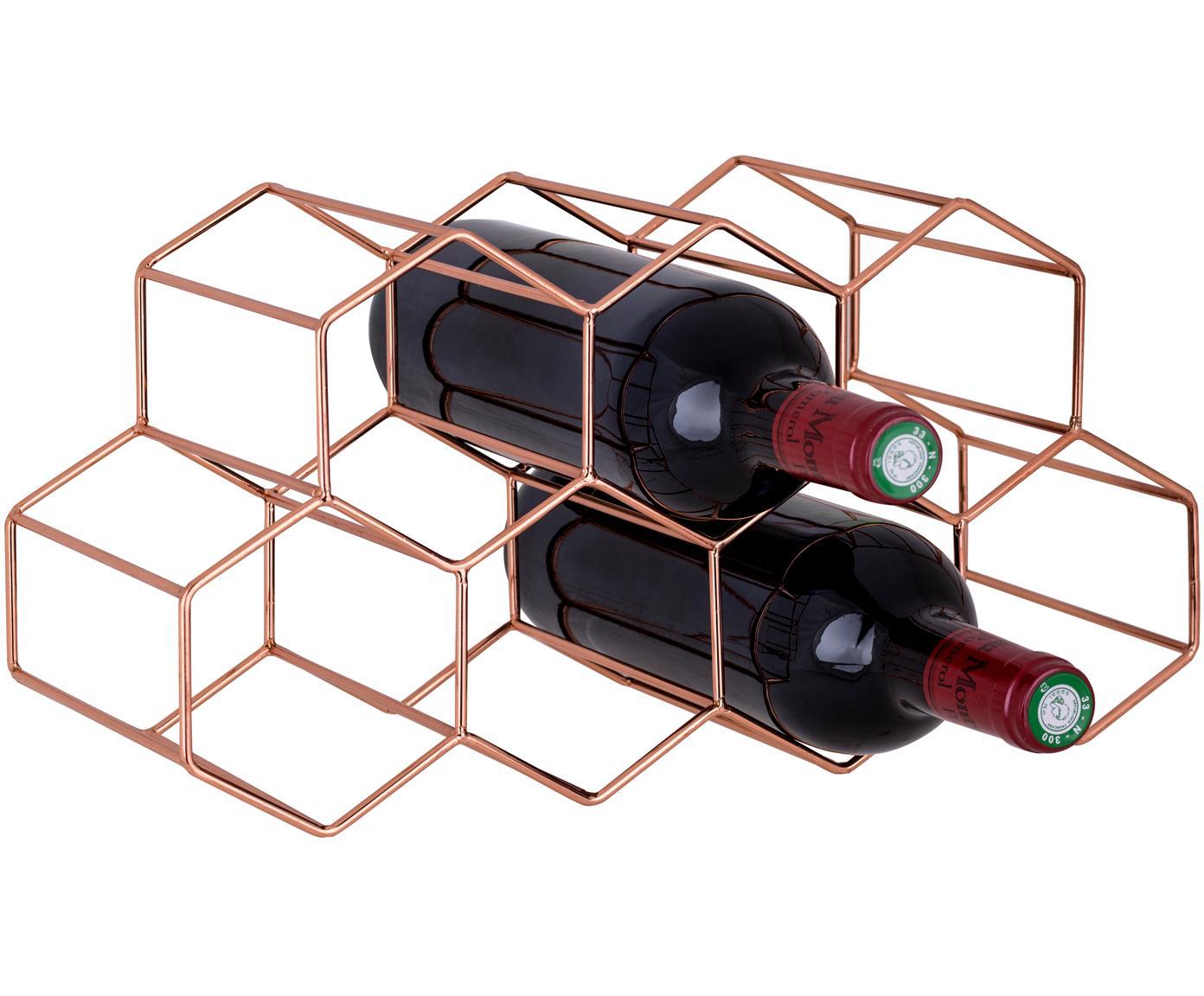 Stojak na wino Hexagon, Miedź, Miedź, S 37 x W 16 cm