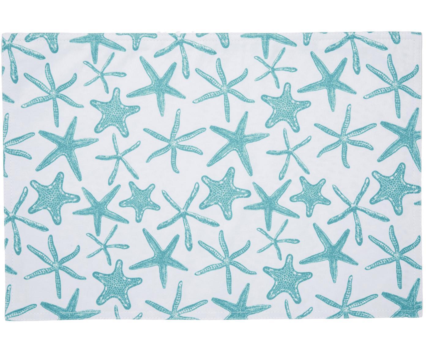 Manteles individuales impermeables Starbone, 2uds., Poliéster, Blanco, azul, An 33x L 48 cm