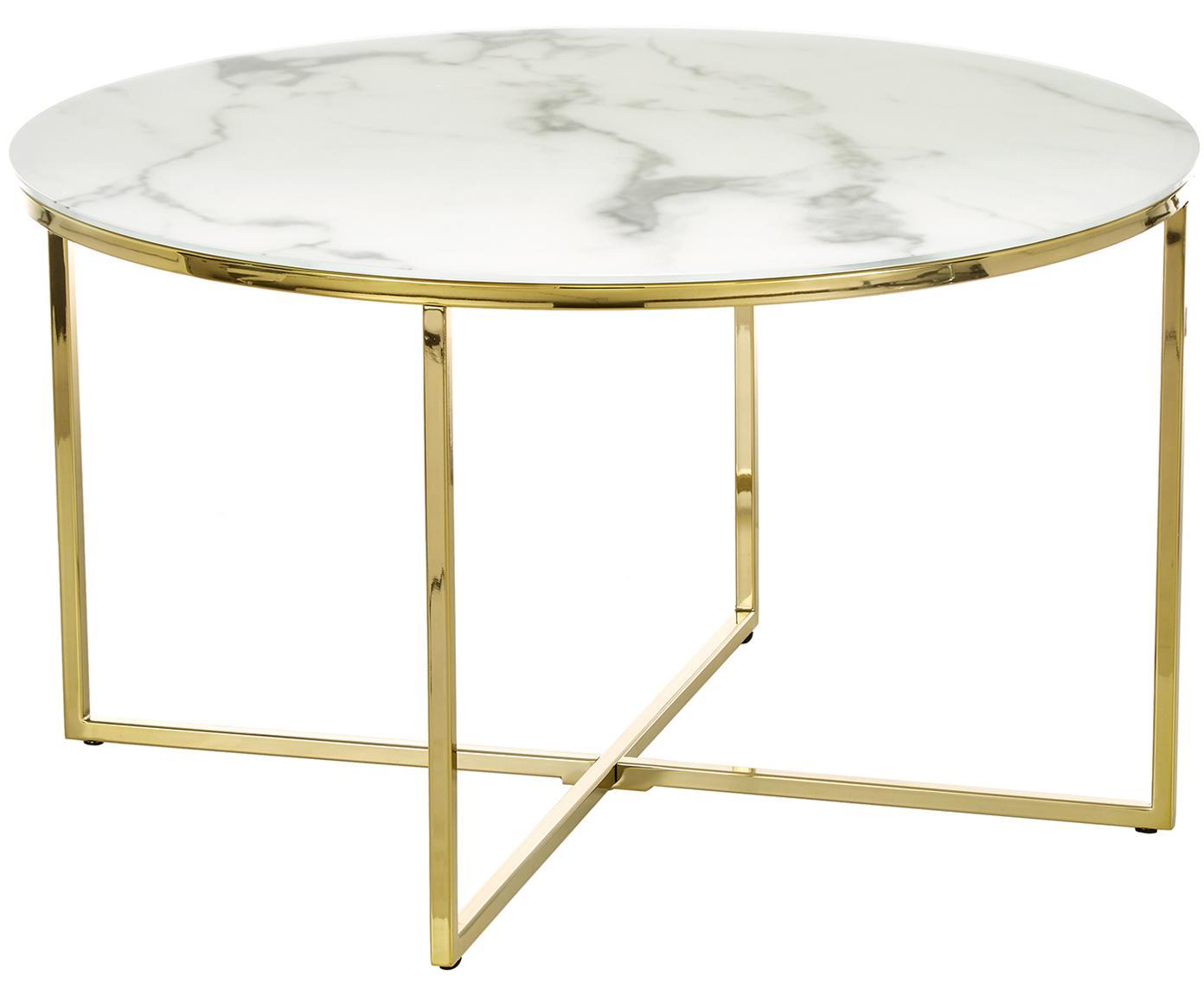 Tavolino da salotto con piano in vetro effetto marmo Antigua, Piano d'appoggio: vetro opaco stampato, Struttura: metallo ottonato, Piano d'appoggio: bianco, marmo, Struttura: ottone, Ø 80 x Alt. 45 cm