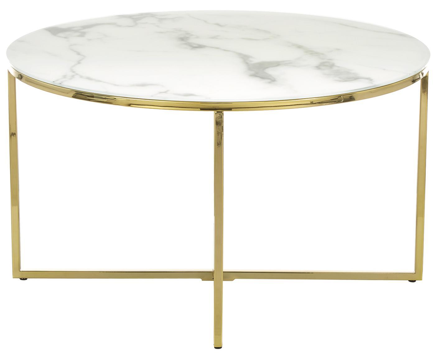 Stolik kawowy ze szklanym blatem Antigua, Blat: szkło, matowy nadruk, Blat: biały marmurowy Stelaż: mosiądz, Ø 80 x W 45 cm