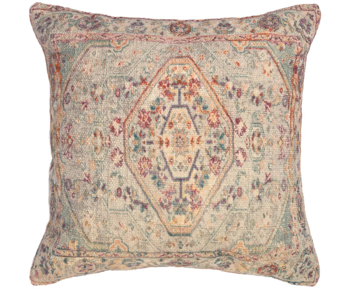 Vintage Kissenhülle Eliseo, 100% Baumwolle, Beige, Mehrfarbig, 45 x 45 cm