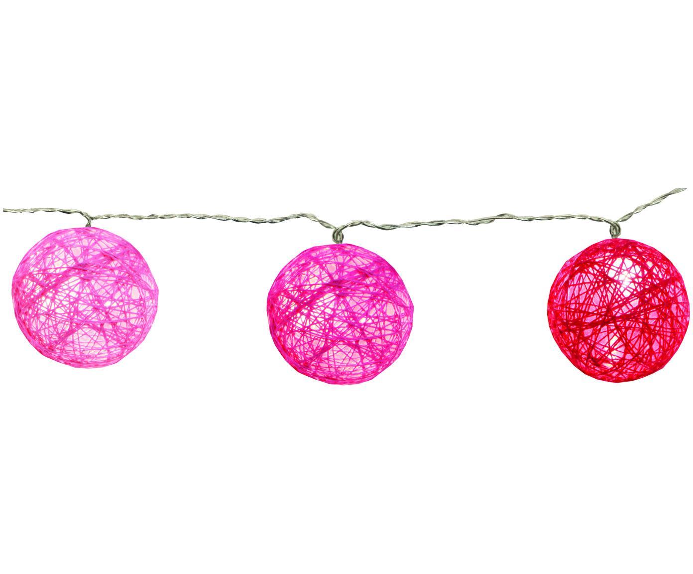 Guirnalda de luces LED Jolly Lights, 135cm, Linternas: algodón, Cable: plástico, Rosa, L 135 cm