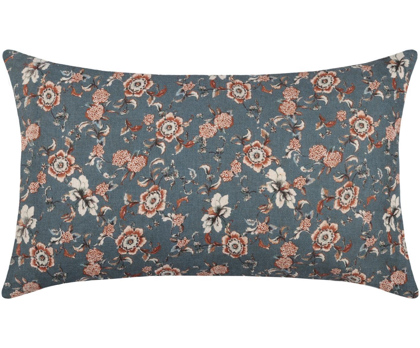 Kissen Boudoir mit Blumenmuster, mit Inlett, Bezug: 50% Baumwolle, 15% Wolle,, Blau, Beige, Rot, 30 x 50 cm