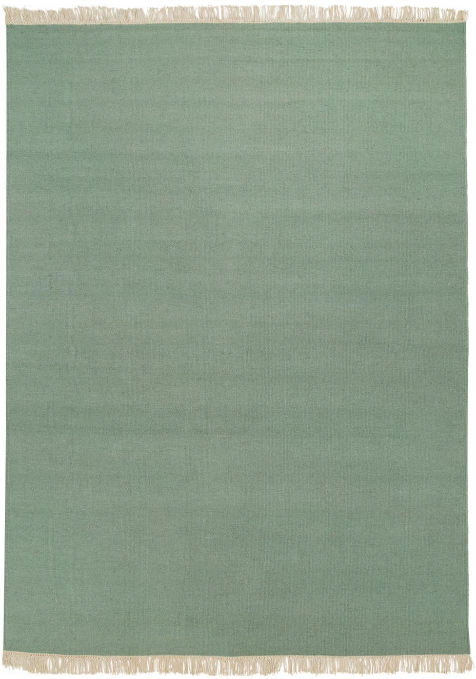 Handgeweven wollen vloerkleed Rainbow in groen met franjes, Bovenzijde: 100% wol, Onderzijde: katoen, Pistachegroen, B 140 x L 200 cm (maat S)