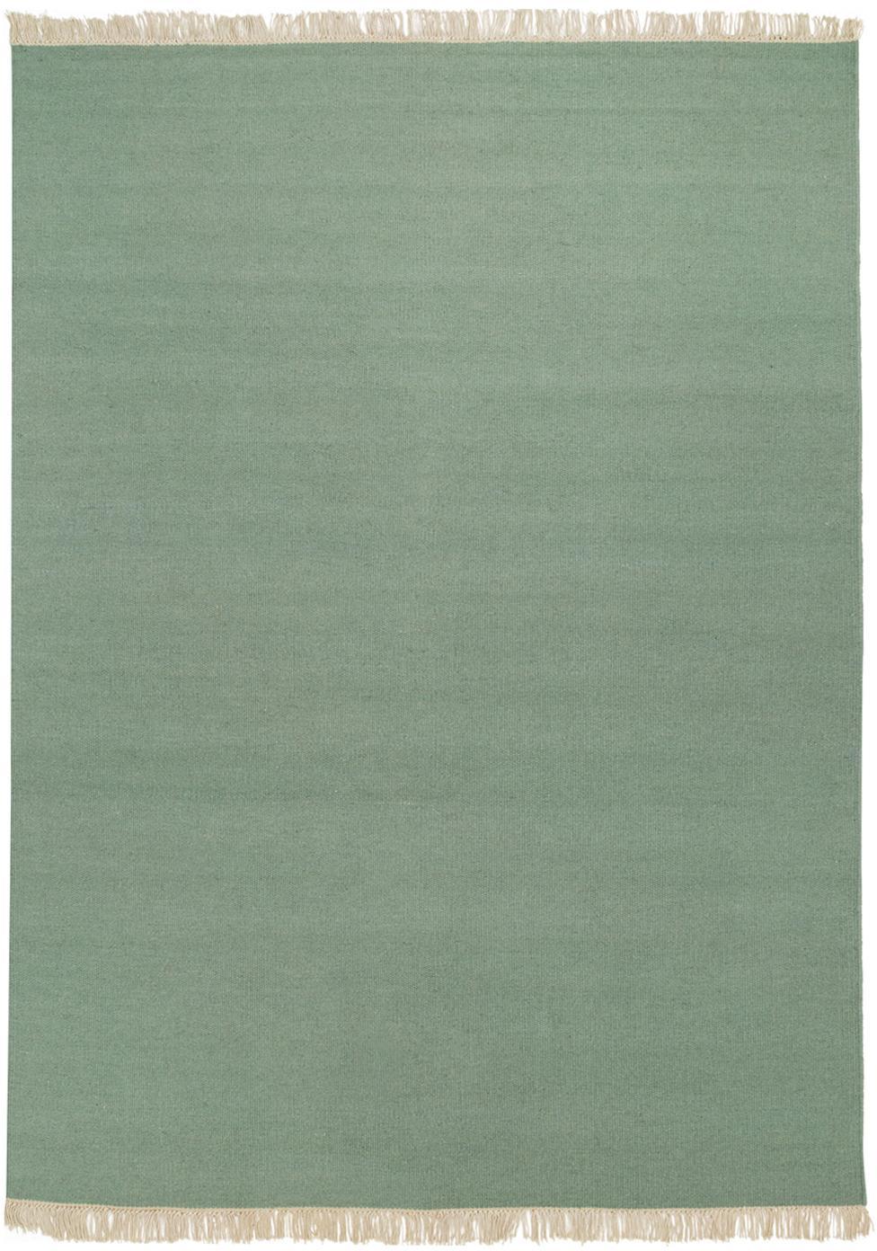 Alfombra artesanal de lana con flecos Rainbow, Flecos: 100%algodón, Pistacho, An 140 x L 200  cm(Tamaño S)