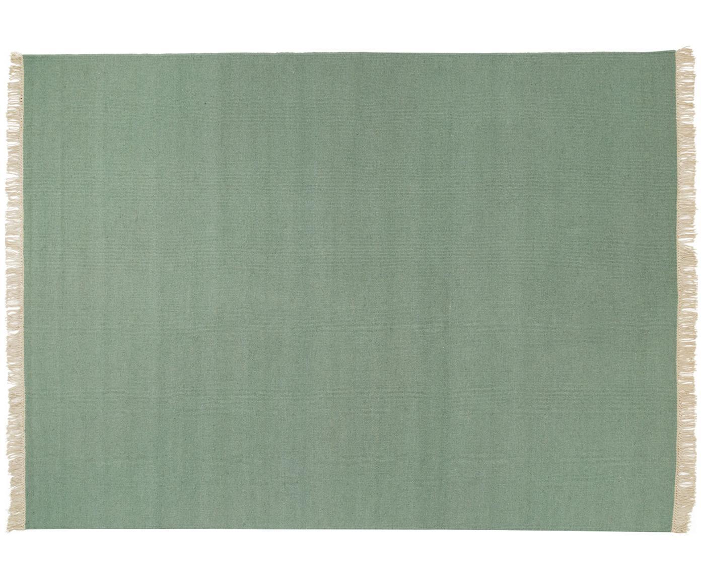 Handgeweven wollen vloerkleed Rainbow in groen met franjes, Bovenzijde: wol, Onderzijde: katoen, Pistachegroen, B 140 x L 200 cm (maat S)