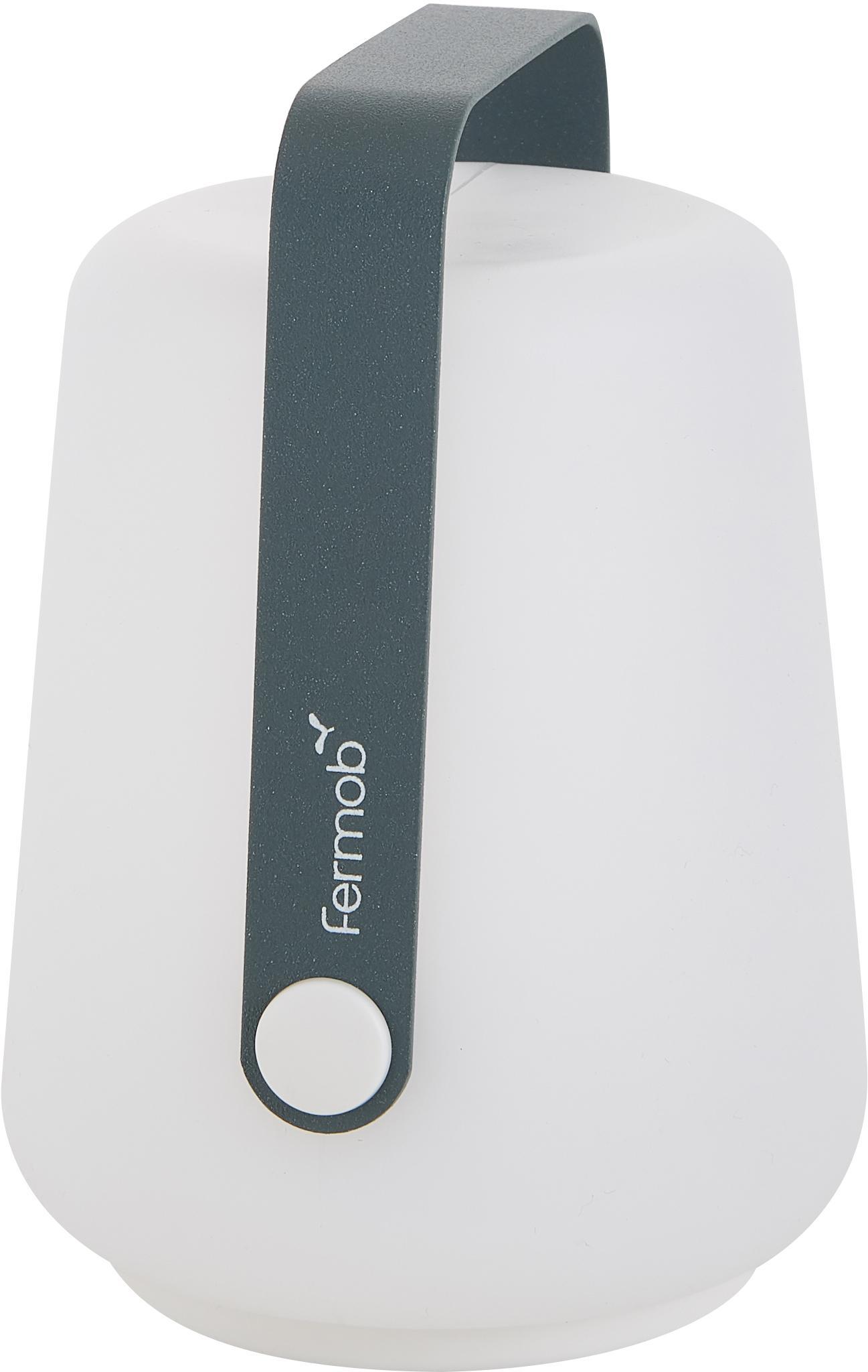 Lampada portatile a LED da esterno Balad 3 pz, Paralume: polietilene, Manico: alluminio verniciato, Grigio tempesta, Ø 10 x Alt. 13 cm