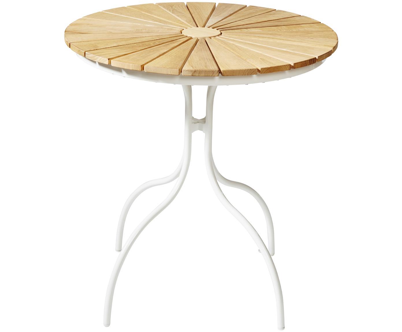 Mesa redonda de jardín de madera Hard & Ellen, Tablero: teca, lijada, Estructura: aluminio con pintura en p, Blanco, teca, Ø 80 x Al 72 cm