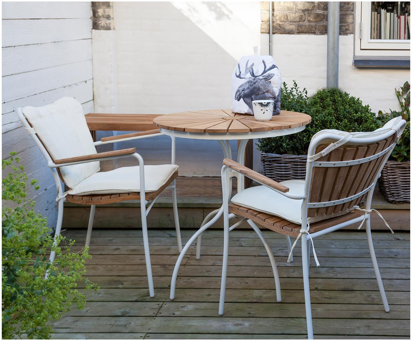Kulatý zahradní stůl s teakovou deskou Hard & Ellen, Bílá, teakové dřevo