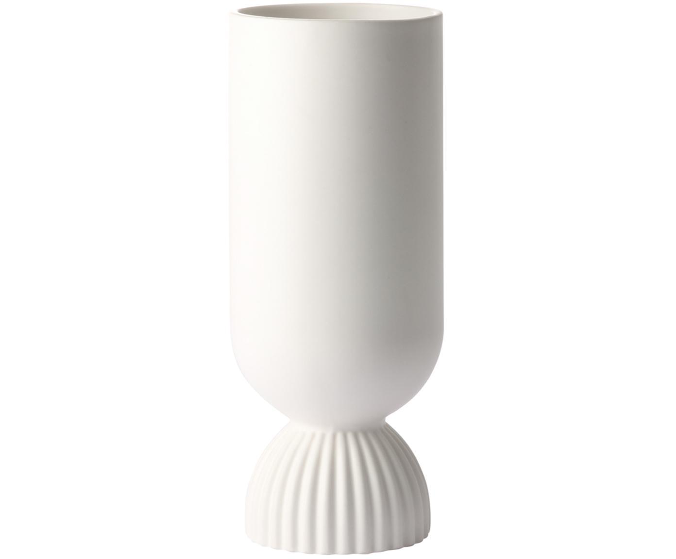 Vase Koralle aus Steingut mit Rippendetail, Steingut, Weiss, matt, Ø 10 x H 25 cm