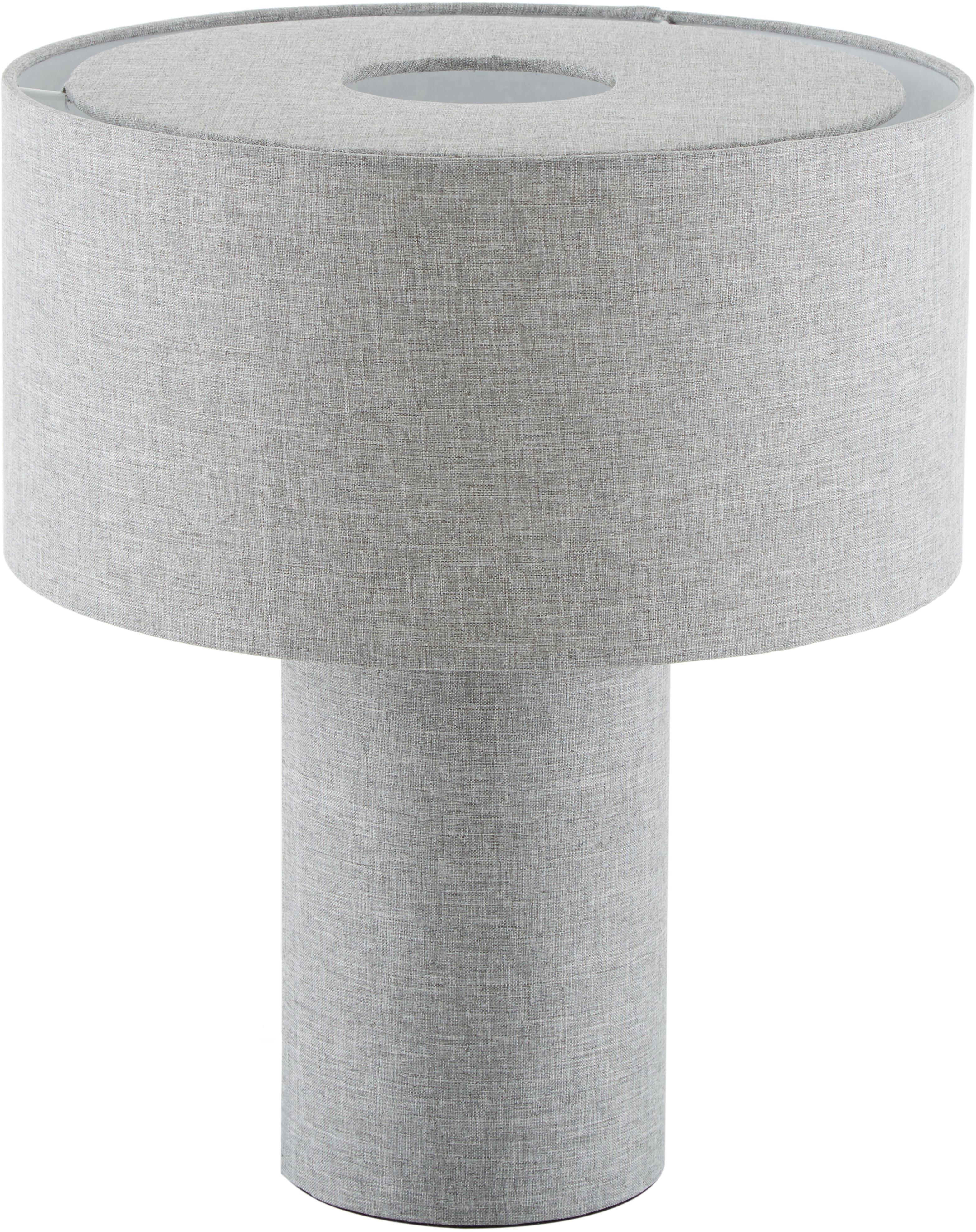 Lámpara de mesa Ron, Pantalla: textil, Cable: plástico, Gris, Ø 30 x Al 35 cm