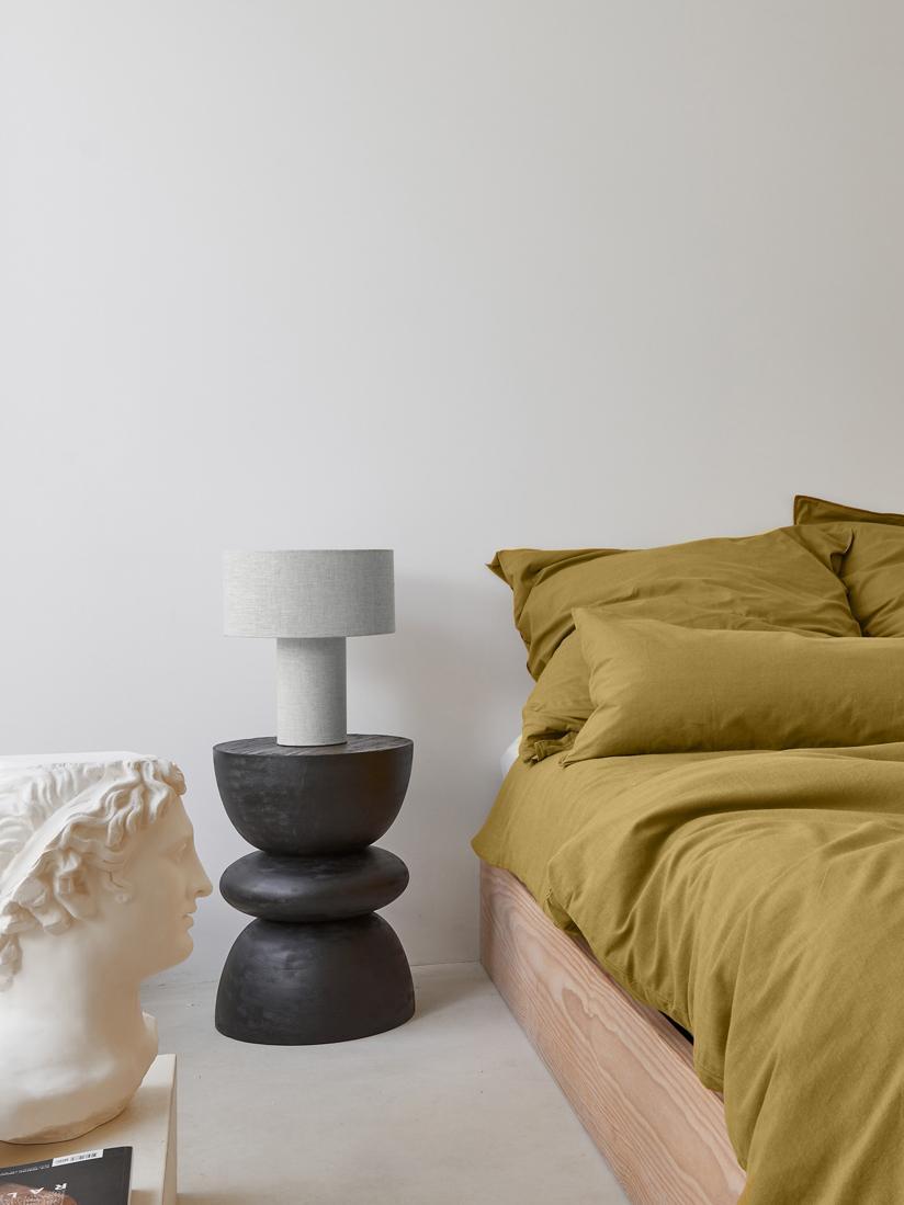Tischlampe Ron aus Stoff, Lampenschirm: Textil, Lampenfuß: Kunststoff mit Textilbezu, Lampenschirm: BeigeLampenfuß:BeigeKabel: Schwarz, Ø 30 x H 35 cm