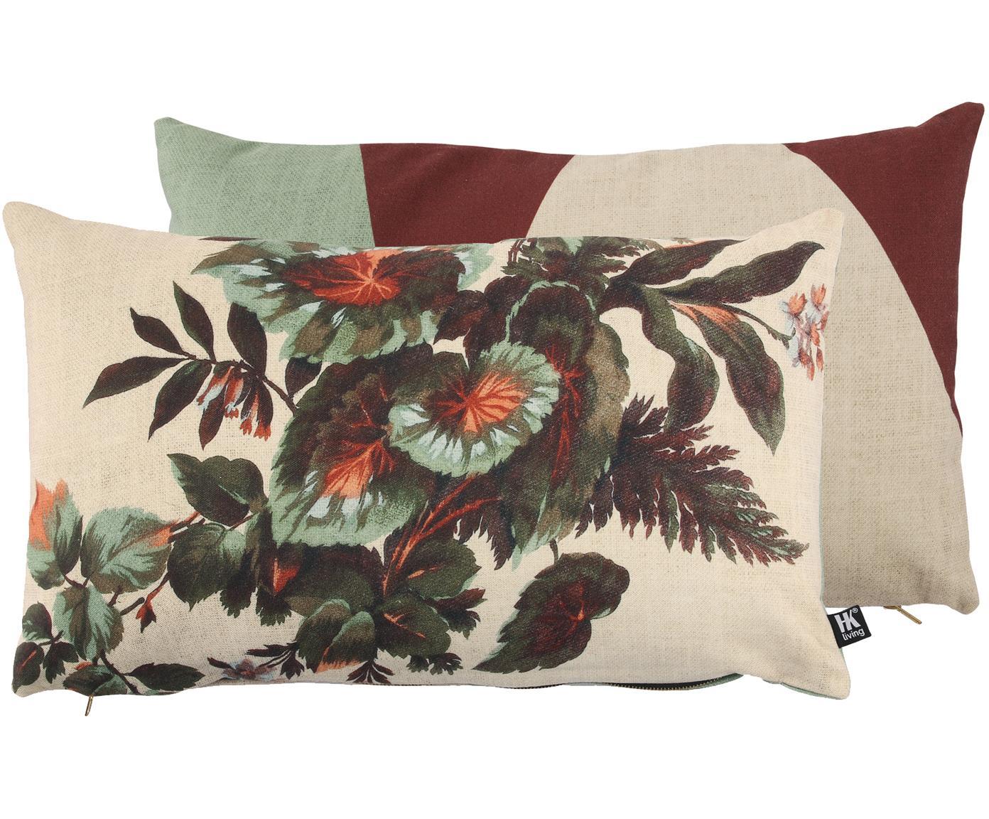 Cuscino reversibile con imbottitura Kyoto, Poliestere, Beige, verde, arancione, Larg. 35 x Lung. 60 cm