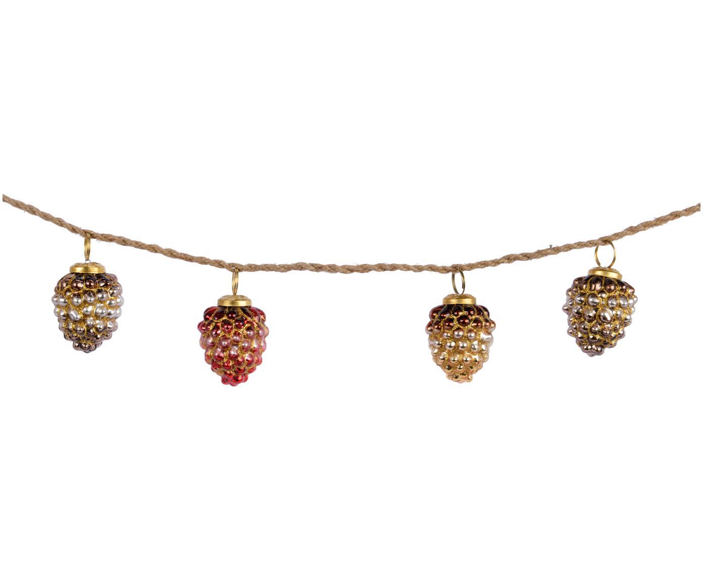 Guirnalda Zapfen, Vidrio, Rojo, dorado, L 120 cm