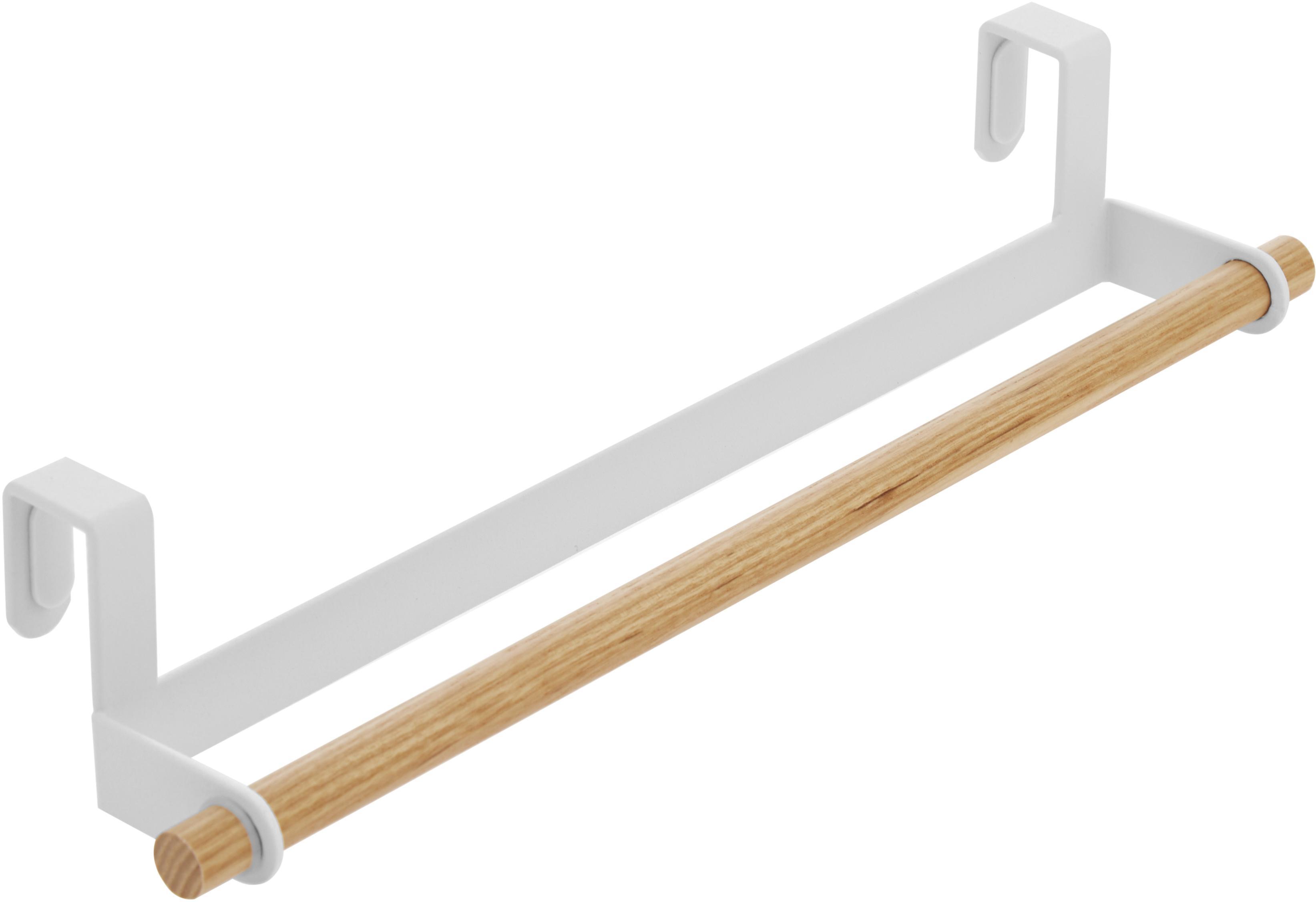 Porta asciugamani Tosca, Asta: acciaio rivestito, Asta: legno, Bianco, legno, Larg. 33 x Alt. 6 cm